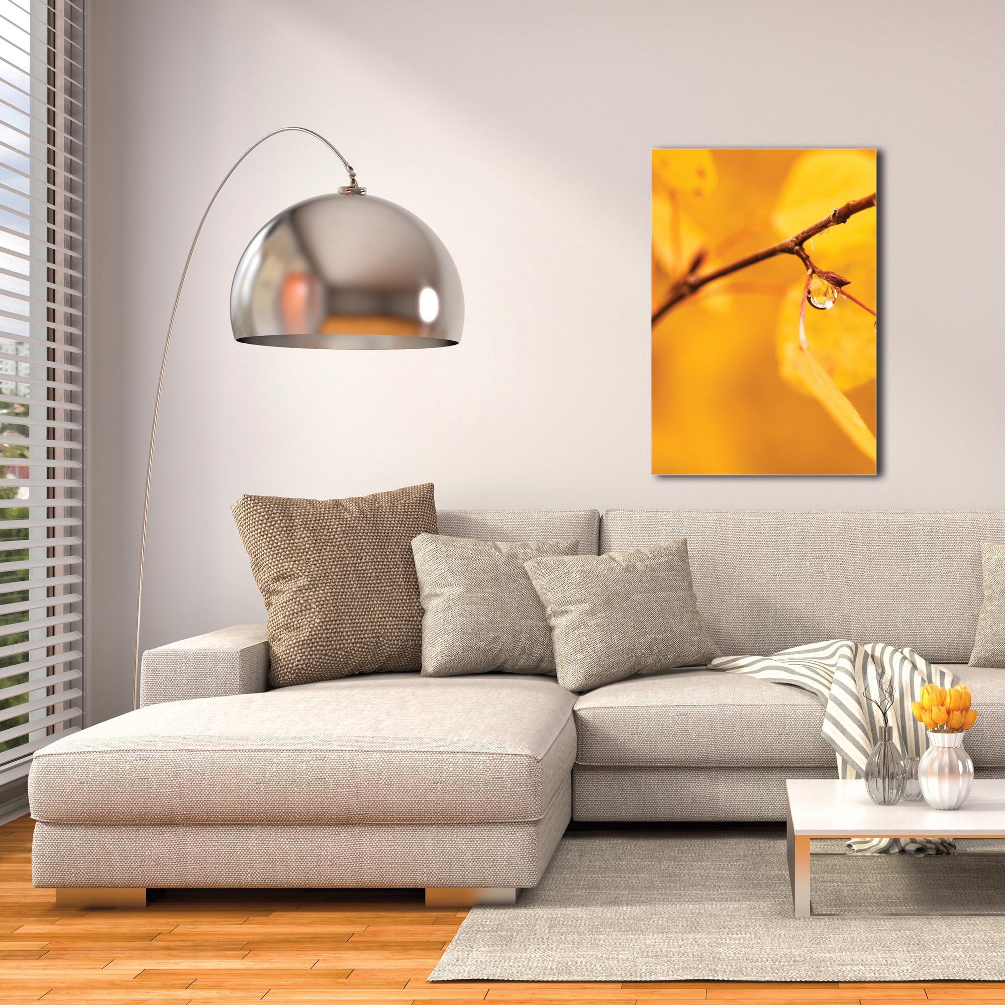 Nature Photography 'Golden Drop' - Autumn Leaves Art on Metal or Plexiglass - Image 3