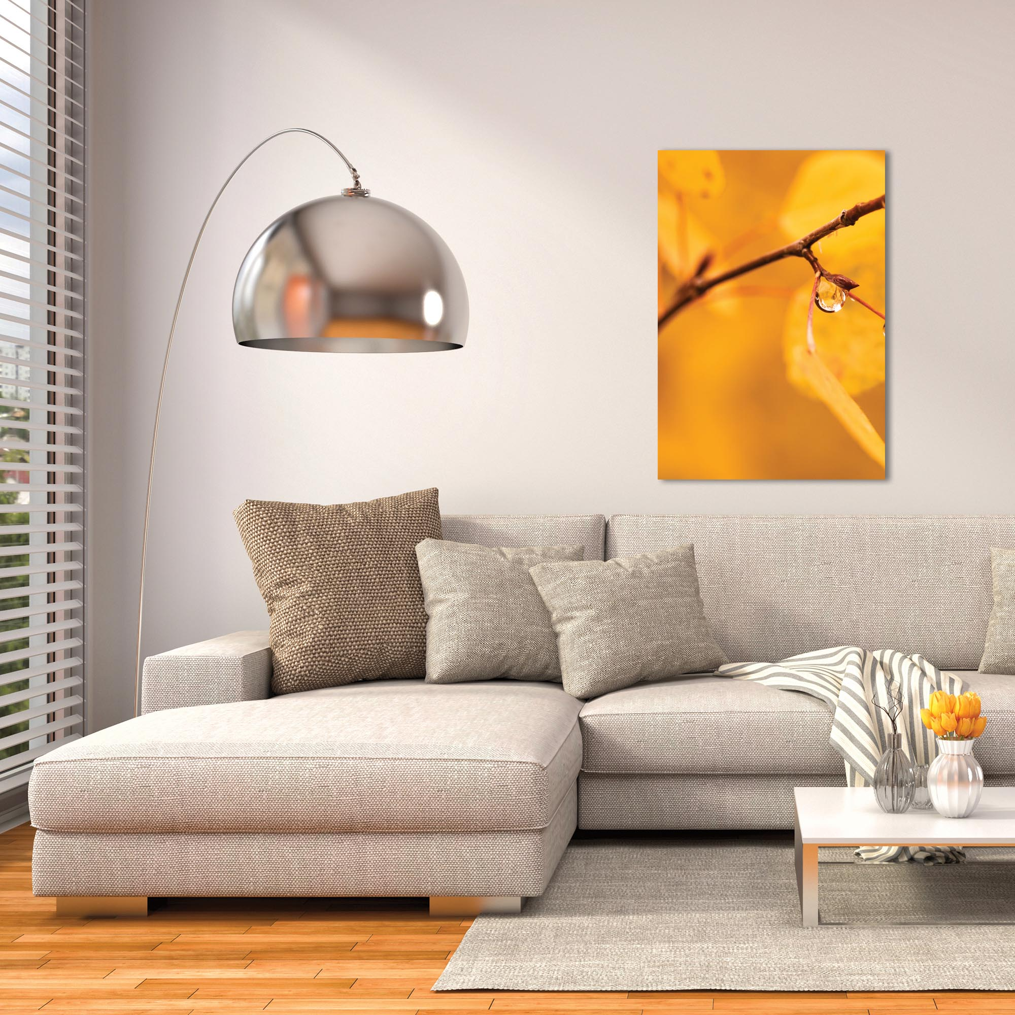 Nature Photography 'Golden Drop' - Autumn Leaves Art on Metal or Plexiglass - Lifestyle View