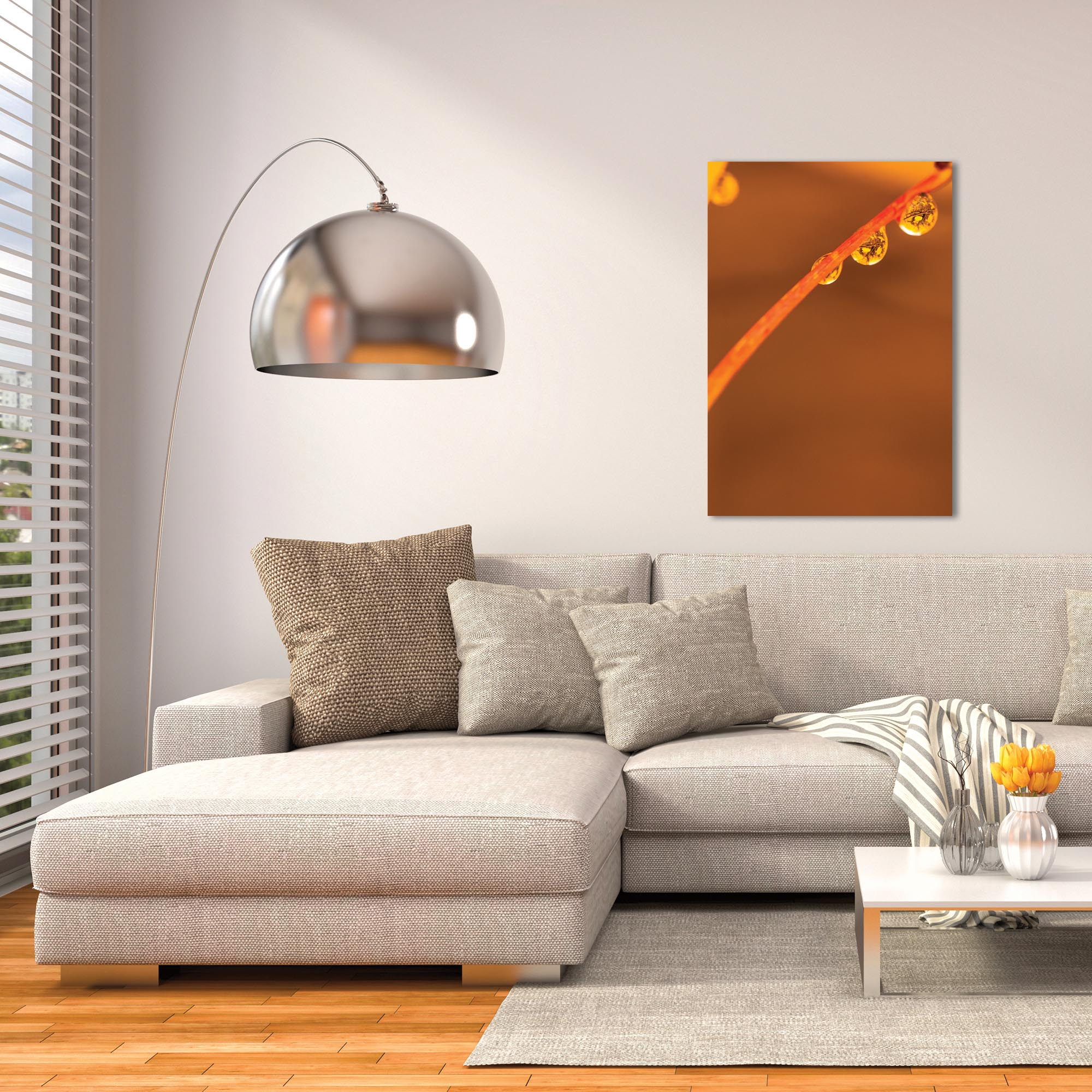Nature Photography 'Morning Dew' - Autumn Leaves Art on Metal or Plexiglass - Lifestyle View
