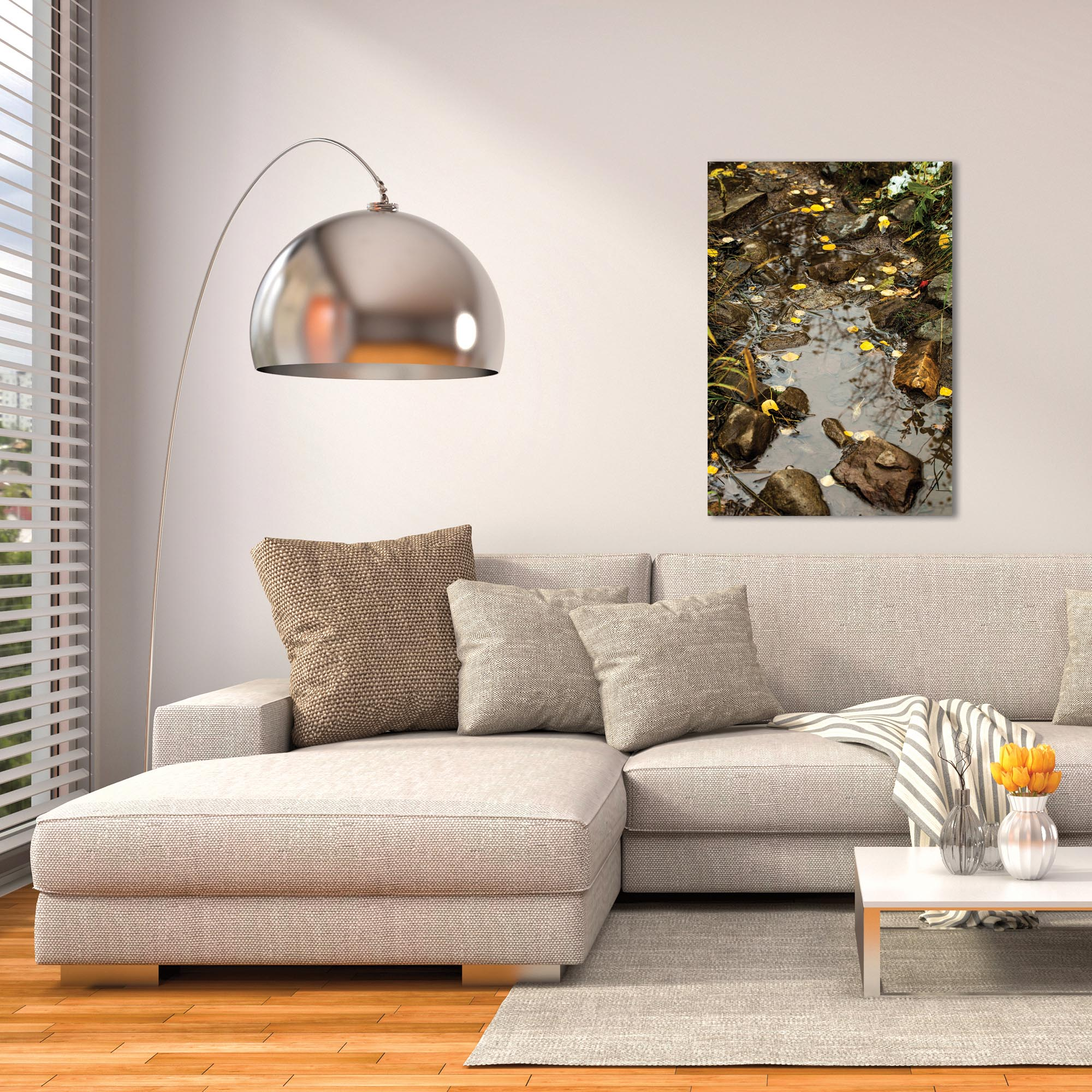 Nature Photography 'Float On' - Autumn Leaves Art on Metal or Plexiglass - Lifestyle View
