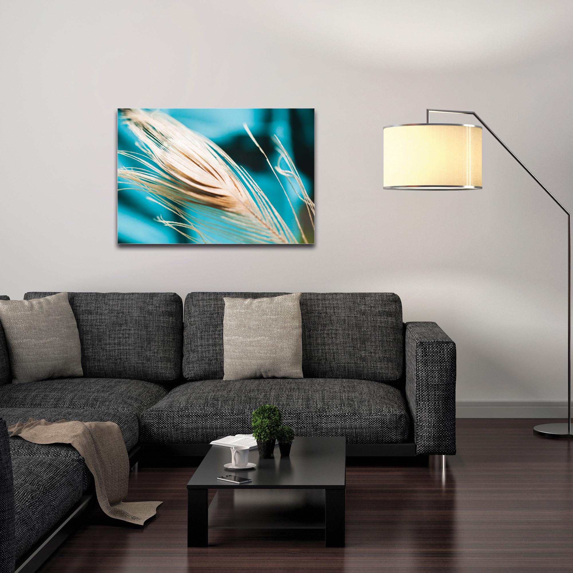 Nature Photography 'Turqoise Feather' - Bird Feathers Art on Metal or Plexiglass - Image 3