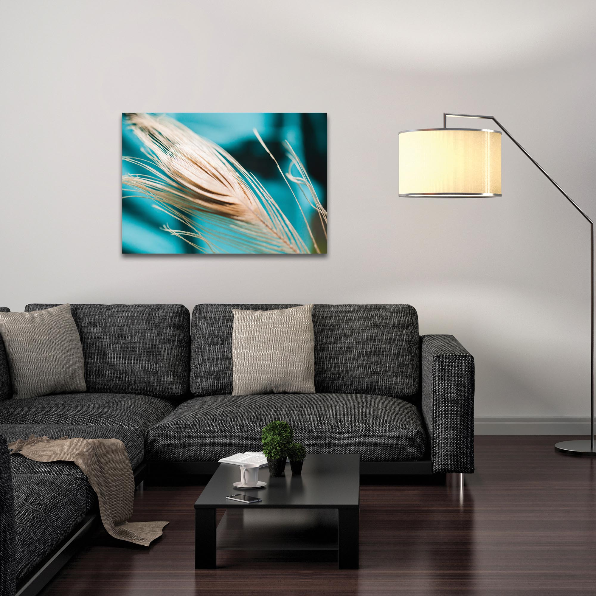 Nature Photography 'Turqoise Feather' - Bird Feathers Art on Metal or Plexiglass - Lifestyle View
