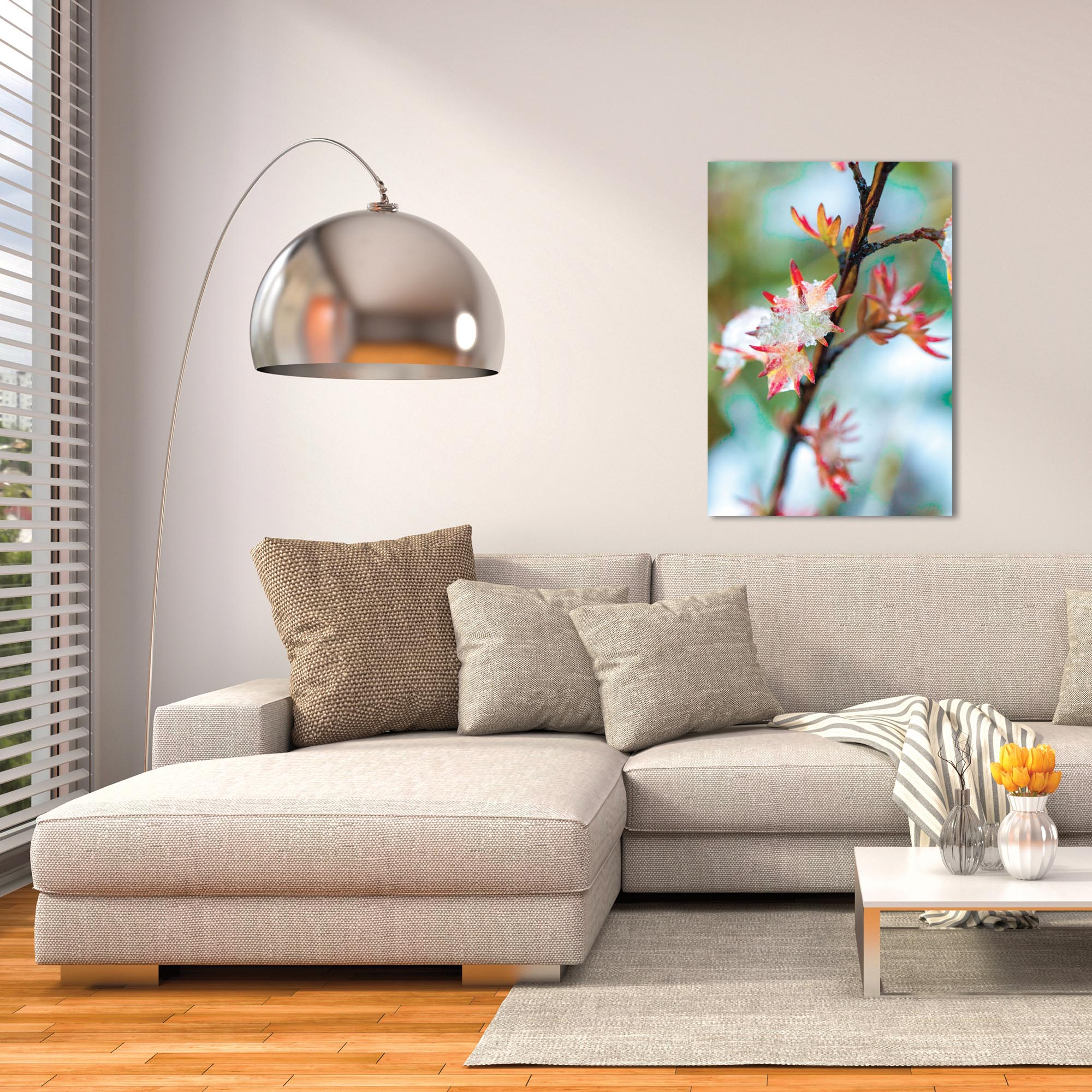 Nature Photography 'Icy Autumn' - Winter Blossom Art on Metal or Plexiglass - Lifestyle View