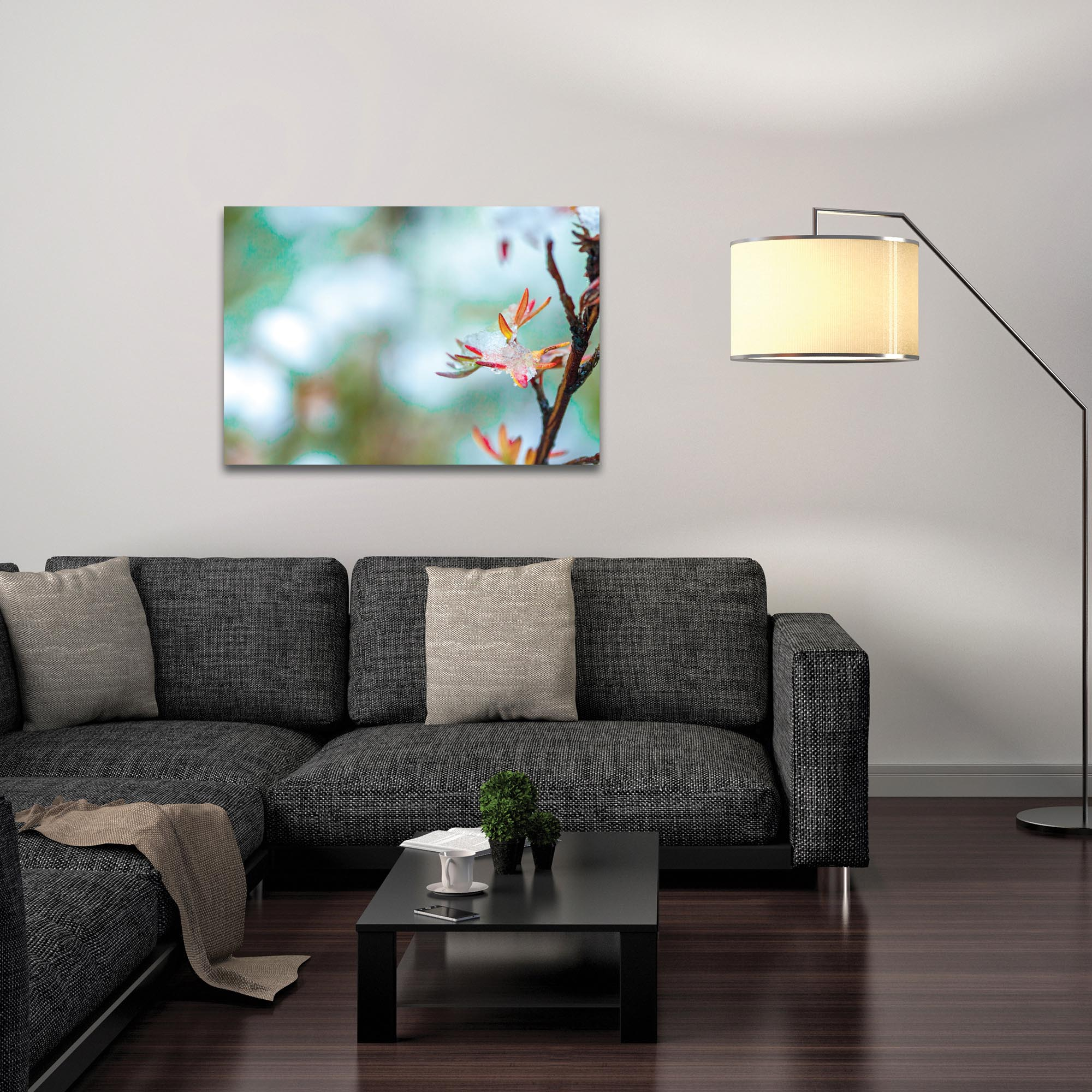 Nature Photography 'Icy Autumn v2' - Winter Blossom Art on Metal or Plexiglass - Lifestyle View