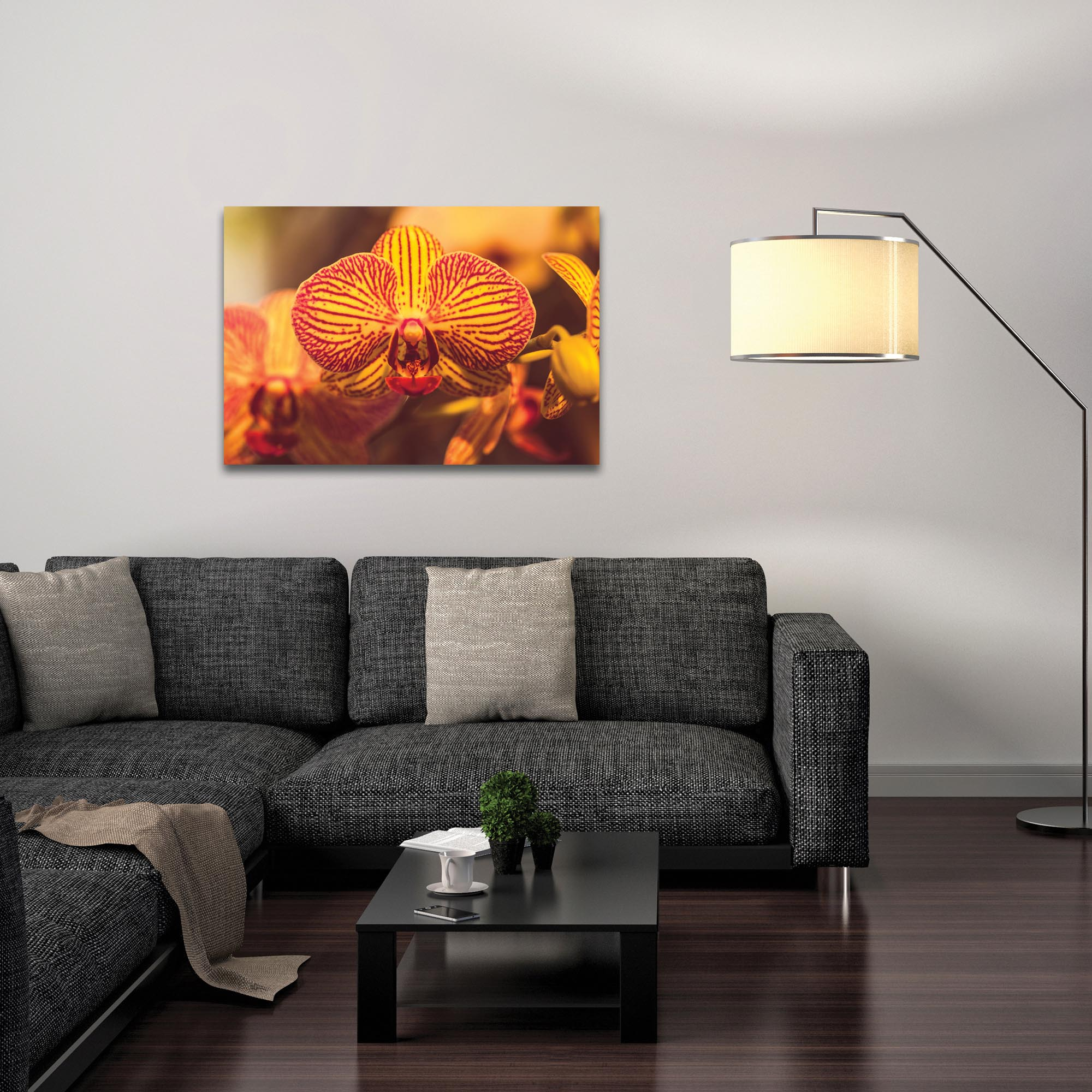 Nature Photography 'Sunset Bloom' - Flower Blossom Art on Metal or Plexiglass - Lifestyle View