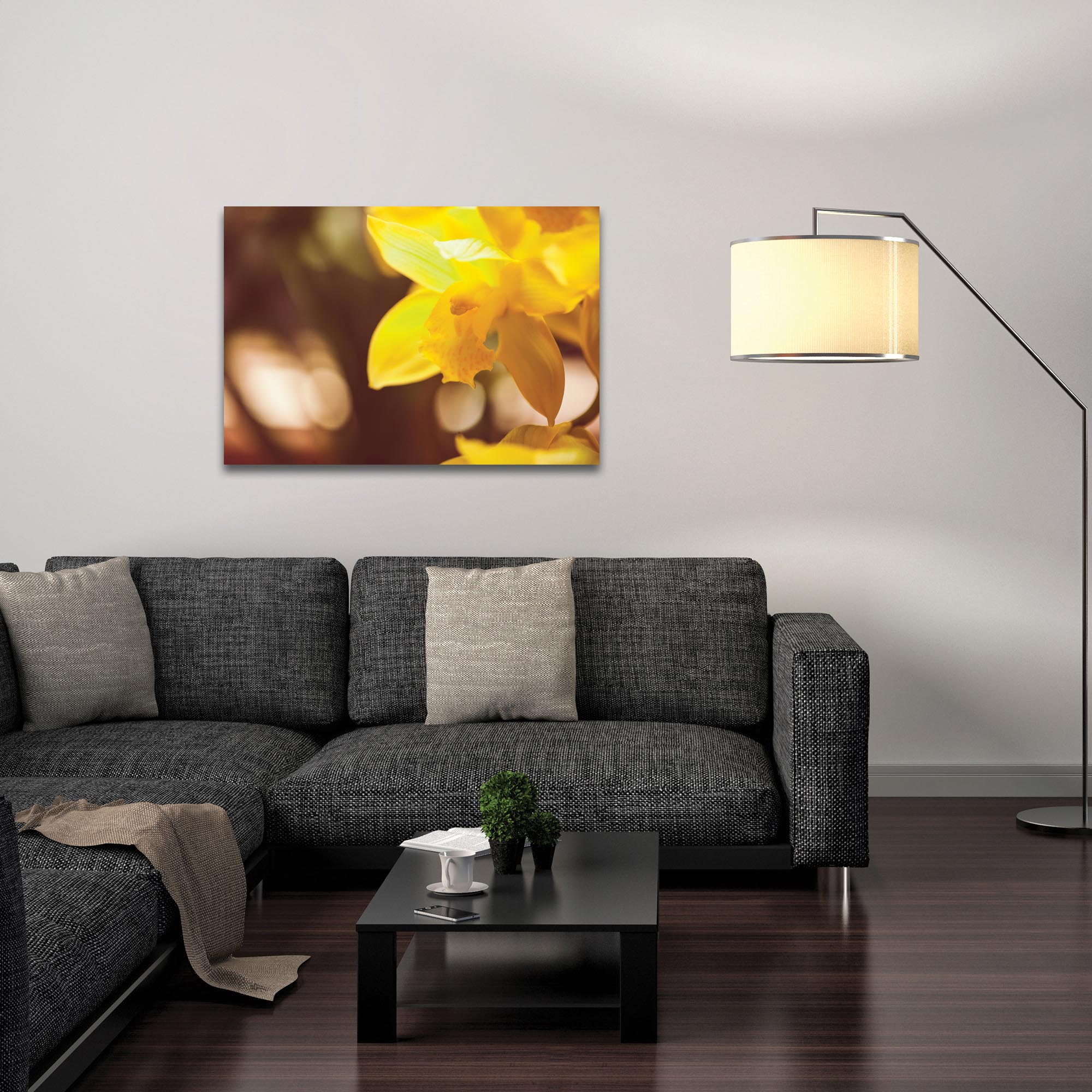 Nature Photography 'Golden Bloom' - Flower Blossom Art on Metal or Plexiglass - Lifestyle View
