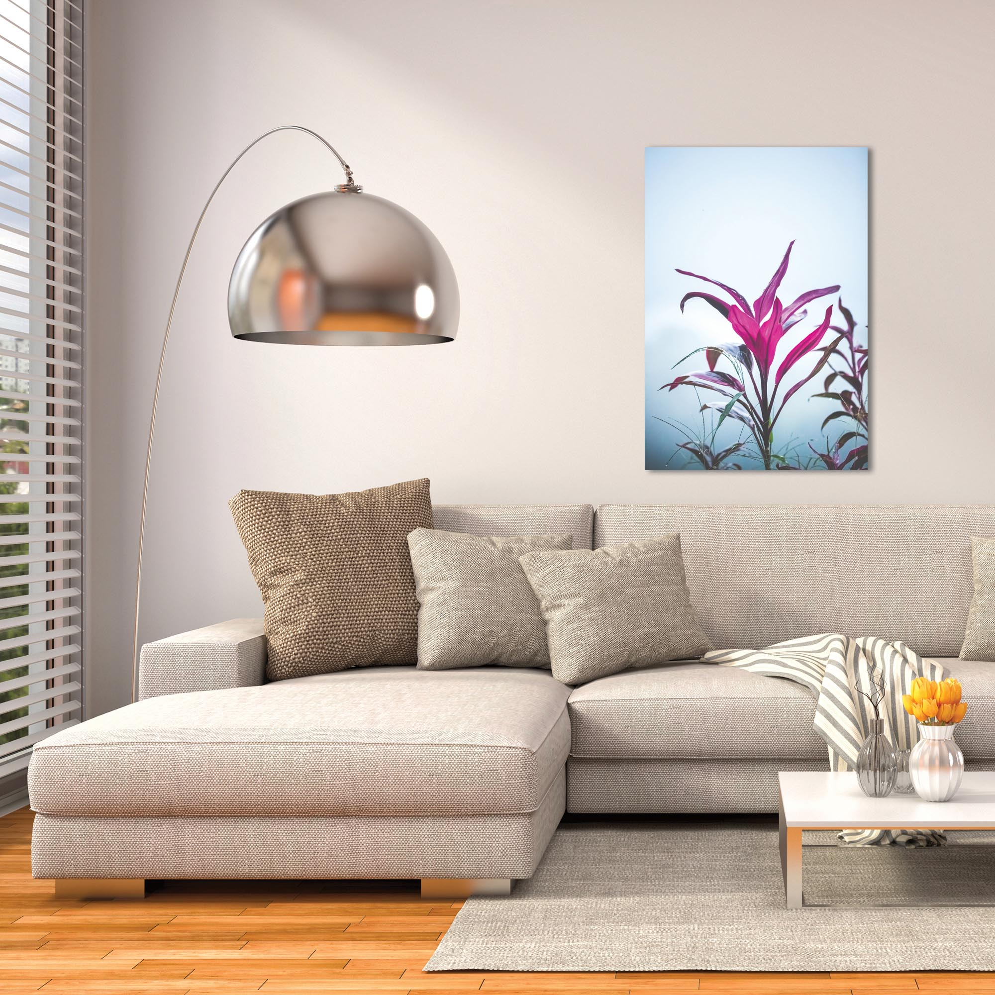 Nature Photography 'Magenta Leaves' - Flower Blossom Art on Metal or Plexiglass - Lifestyle View