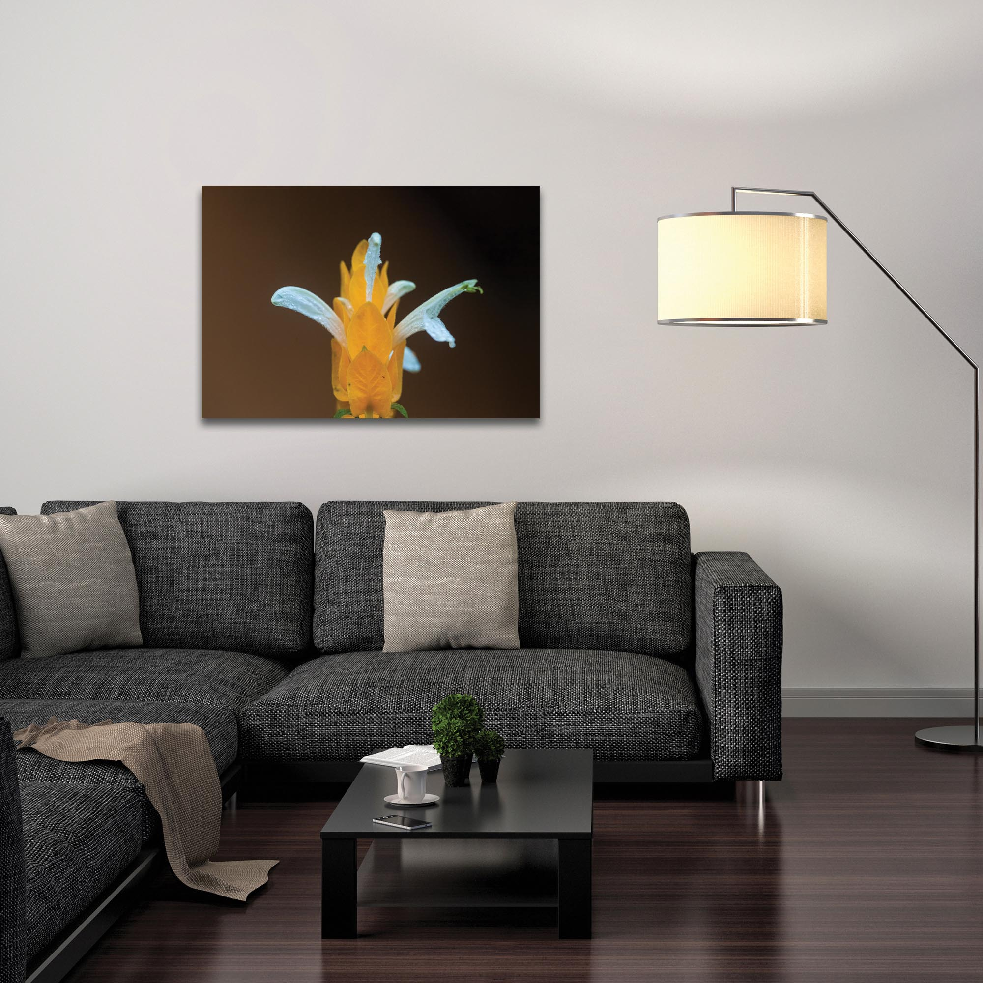 Nature Photography 'White and Gold' - Flower Blossom Art on Metal or Plexiglass - Lifestyle View