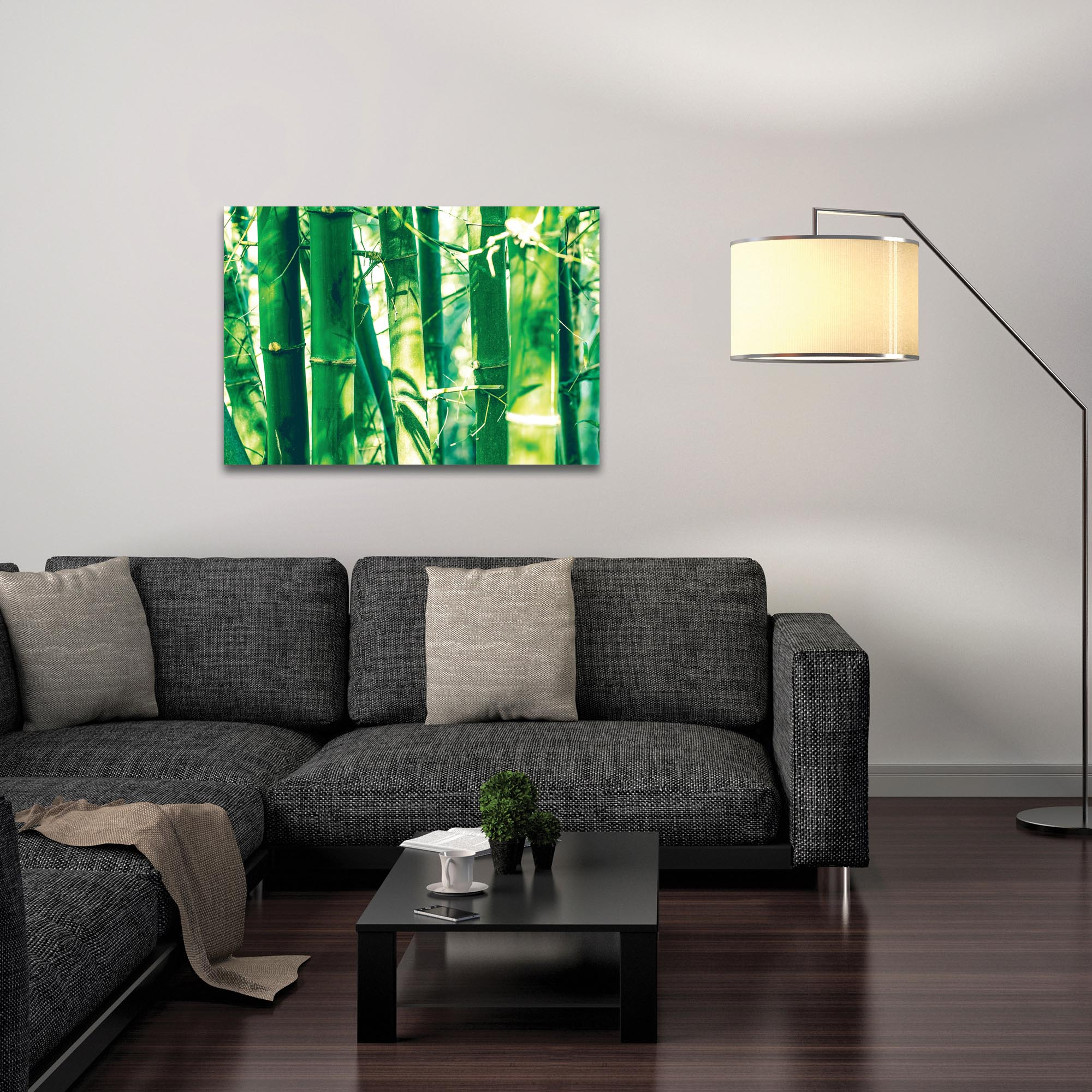 Asian Wall Art 'Bamboo Forest' - Bamboo Decor on Metal or Plexiglass - Lifestyle View