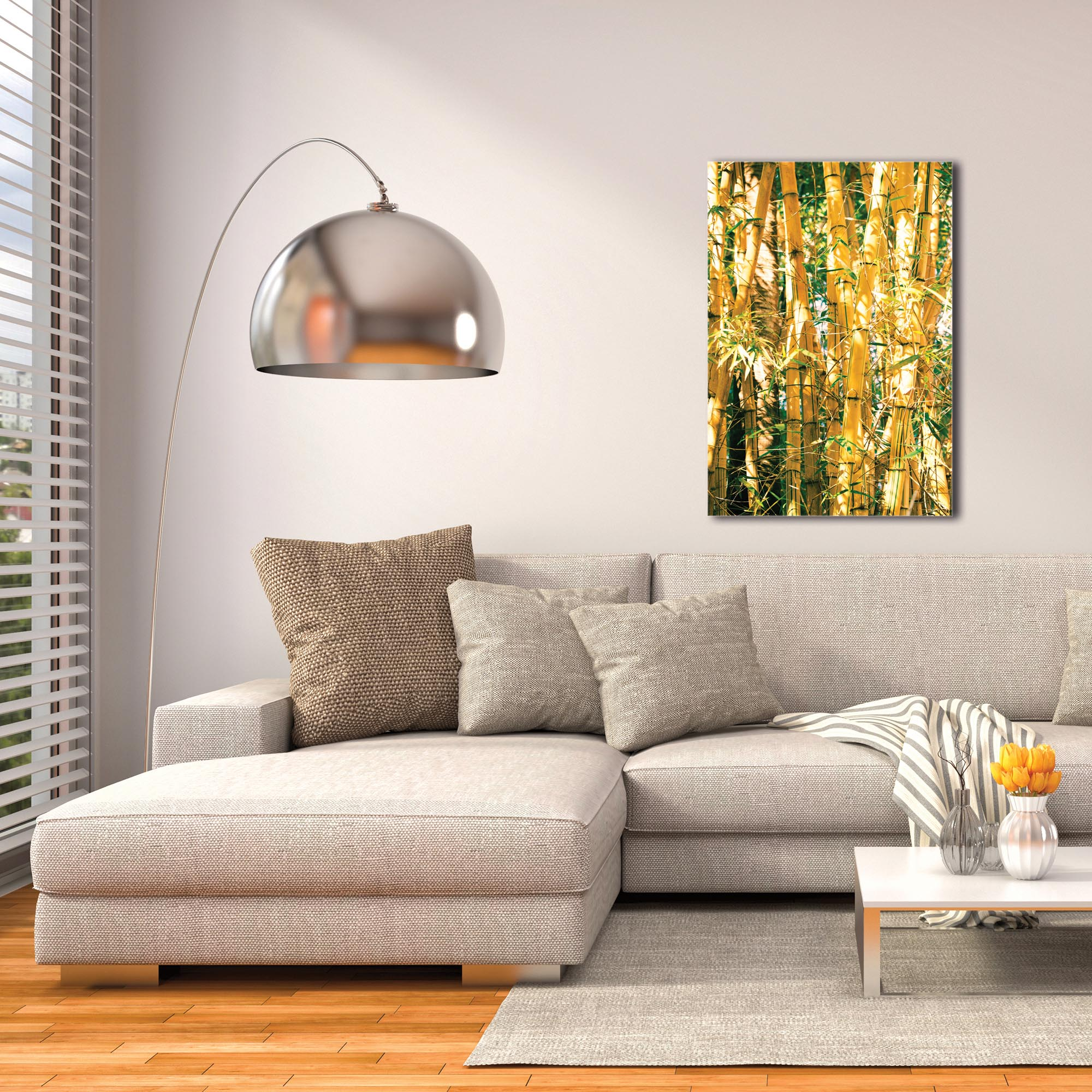 Asian Wall Art 'Bamboo Gold' - Bamboo Decor on Metal or Plexiglass - Image 3