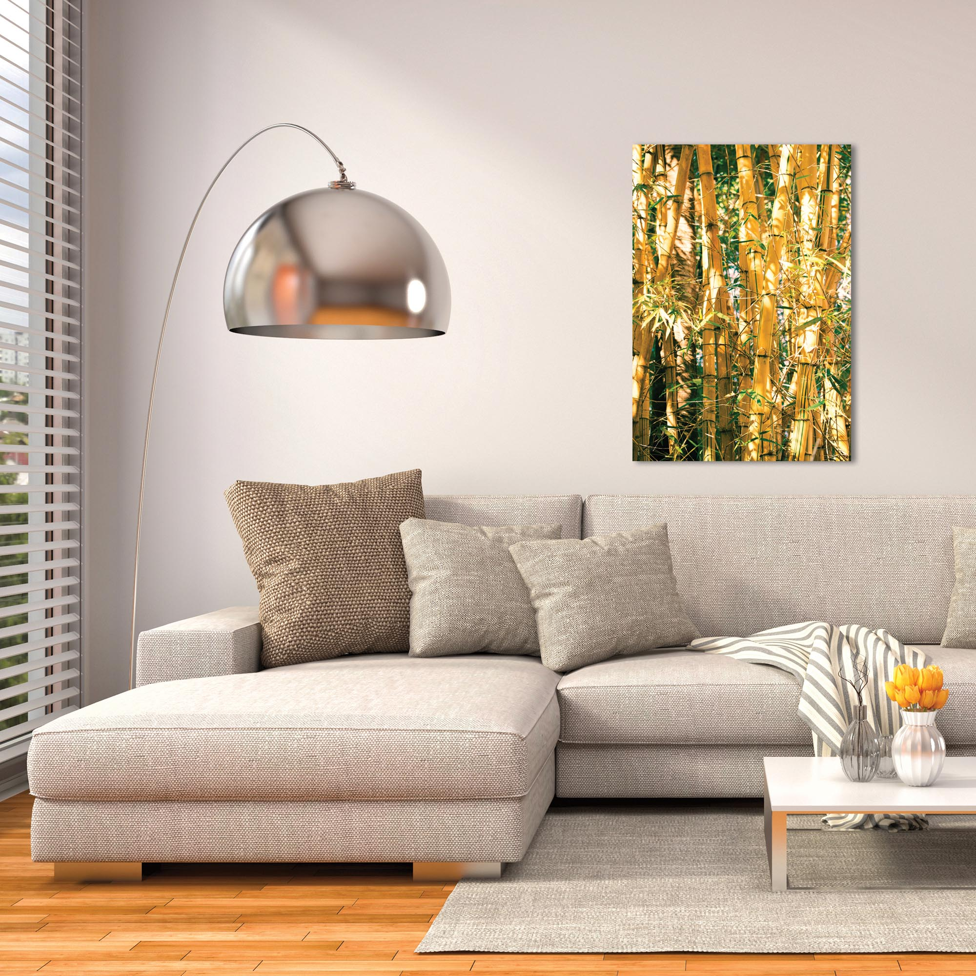 Asian Wall Art 'Bamboo Gold' - Bamboo Decor on Metal or Plexiglass - Lifestyle View