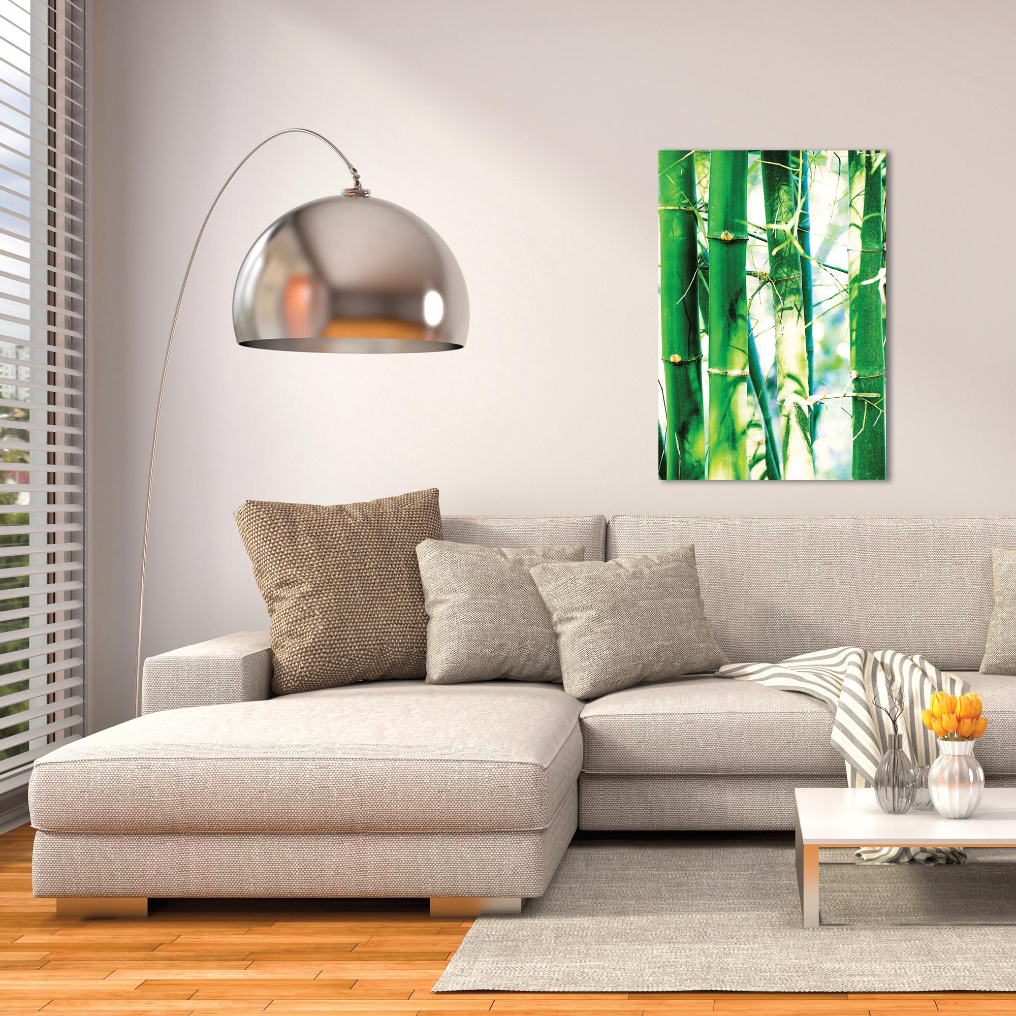 Asian Wall Art 'Bamboo Heights' - Bamboo Decor on Metal or Plexiglass - Lifestyle View