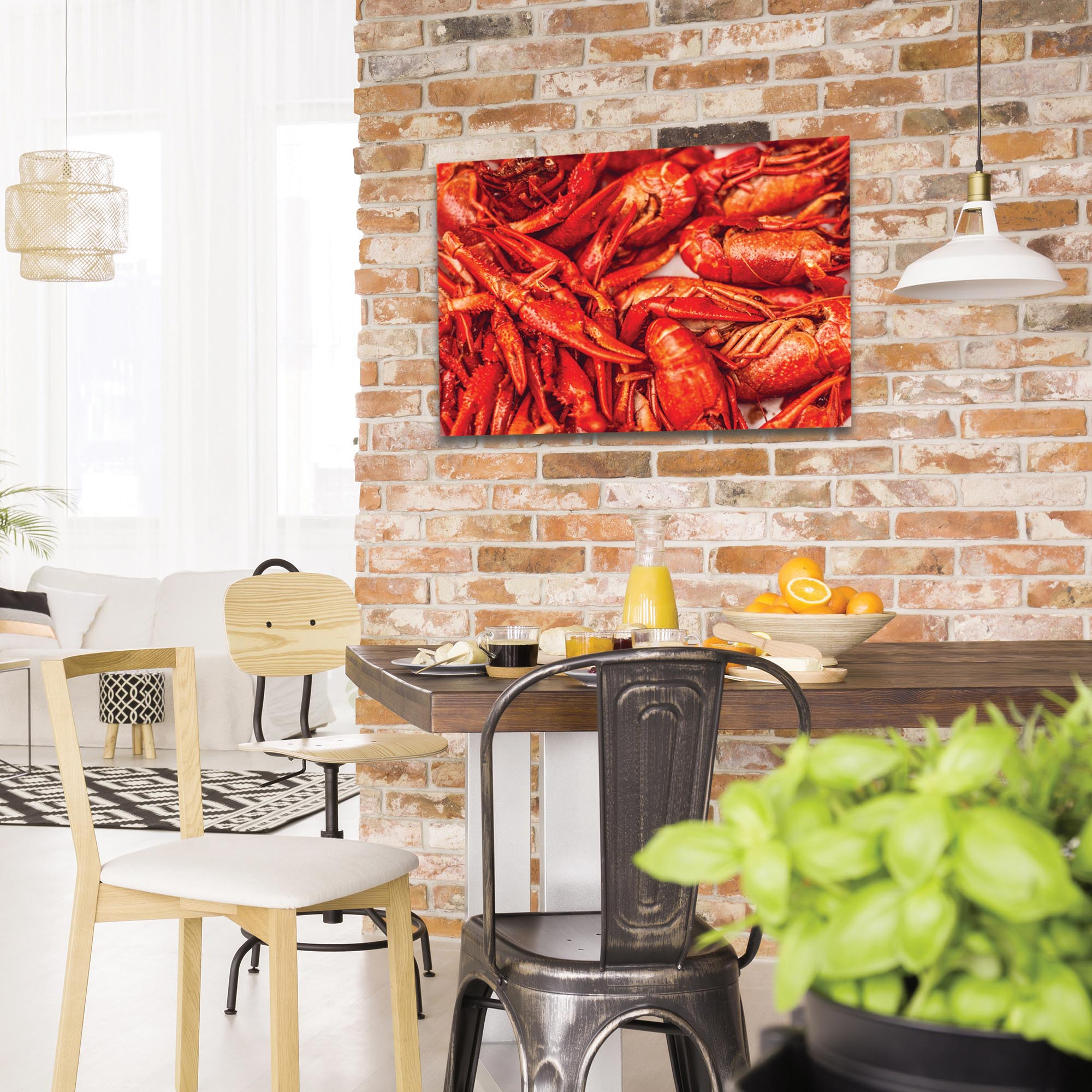 Coastal Wall Art 'Crawfish Supper' - Crayfish Boil Decor on Metal or Plexiglass - Lifestyle View