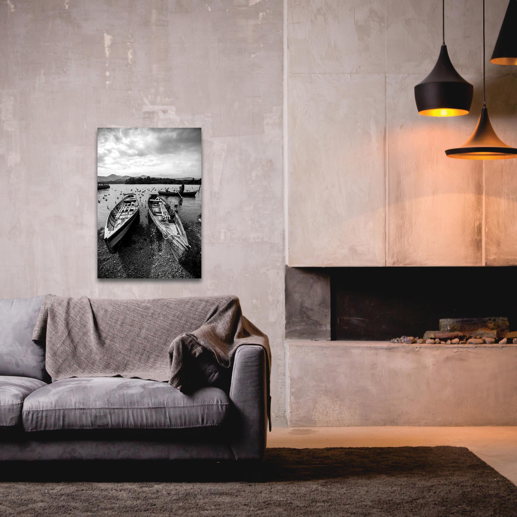 Black & White Photography 'Old Rowboats' - Coastal Art on Metal or Plexiglass - Lifestyle View
