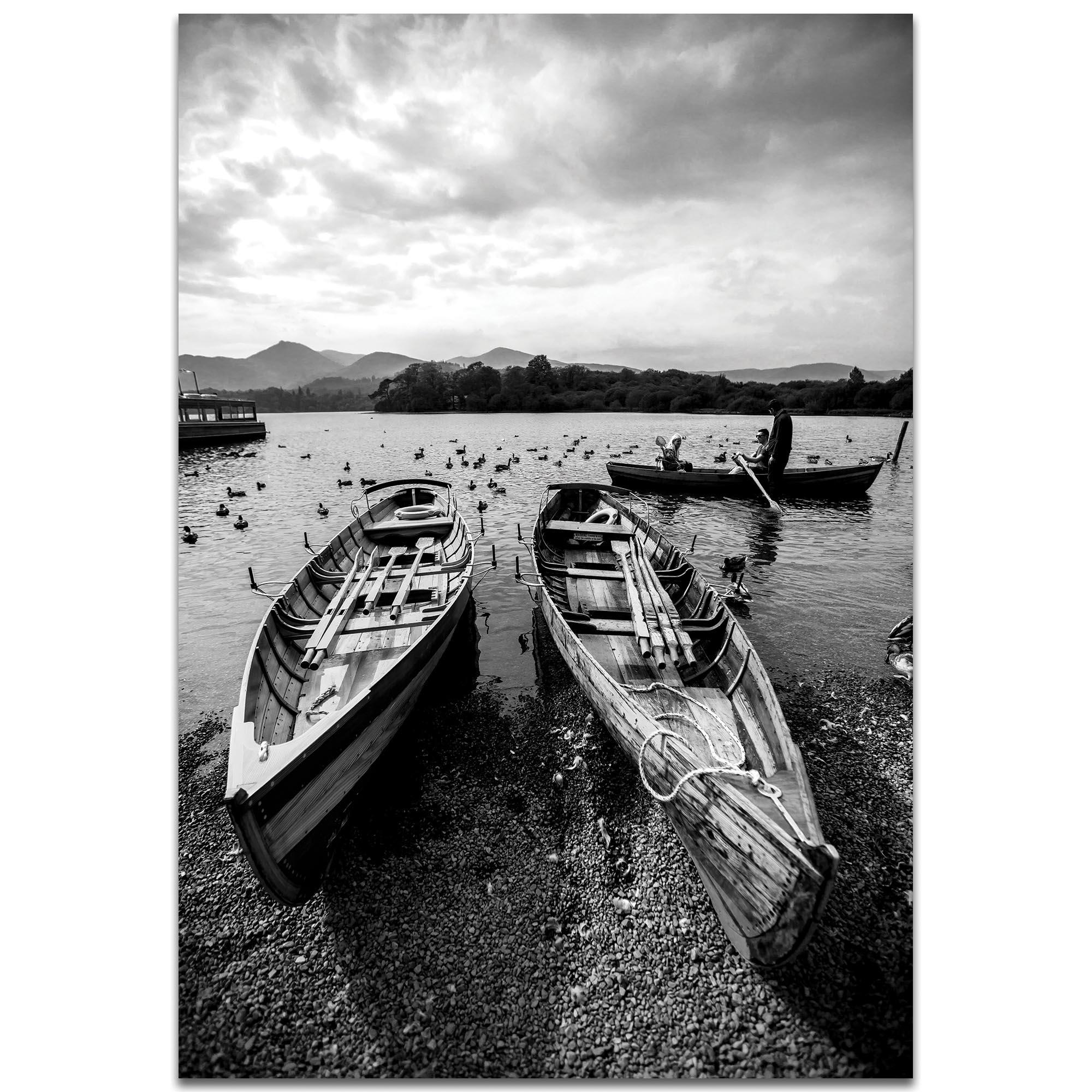 Black & White Photography 'Old Rowboats' - Coastal Art on Metal or Plexiglass