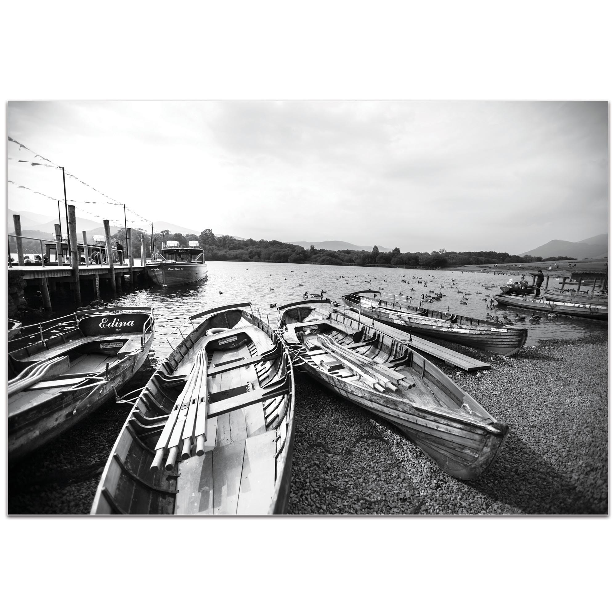 Black & White Photography 'Row of Rowers' - Coastal Art on Metal or Plexiglass - Image 2
