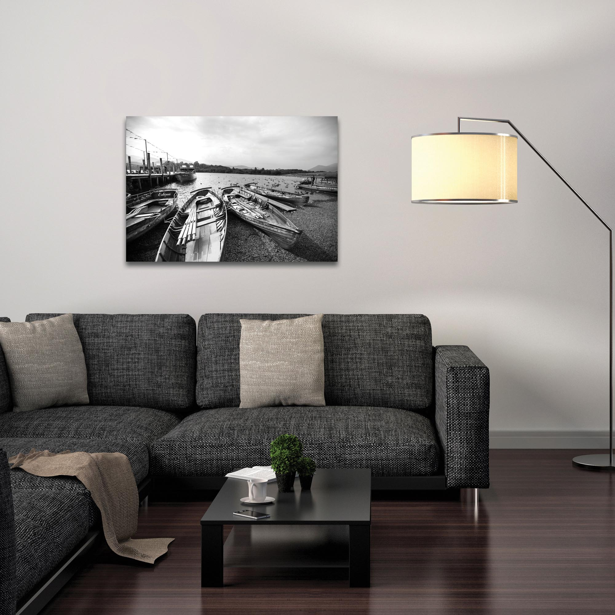 Black & White Photography 'Row of Rowers' - Coastal Art on Metal or Plexiglass - Lifestyle View