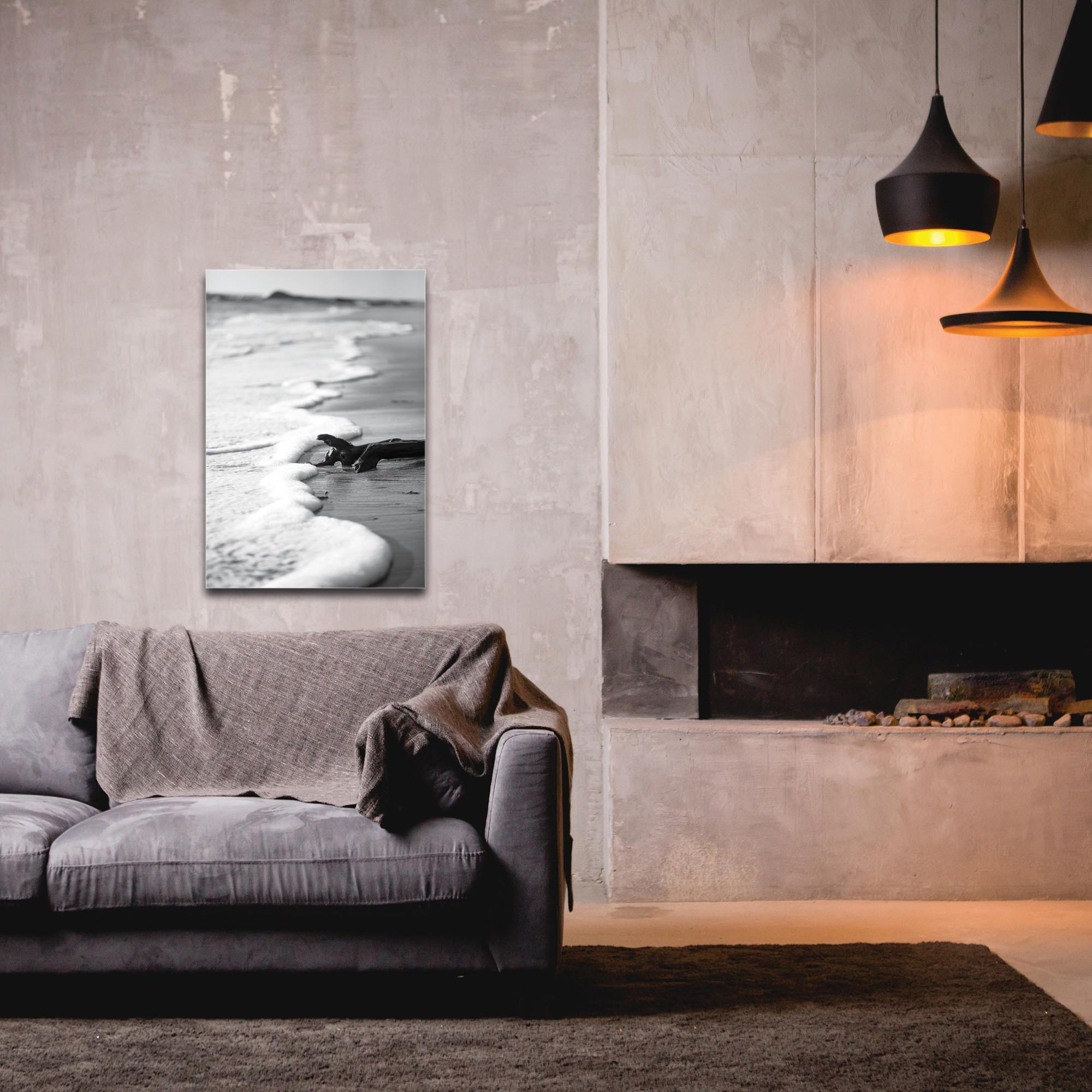 Film Noir Wall Art 'Foaming Sea' - Coastal Decor on Metal or Plexiglass - Image 3