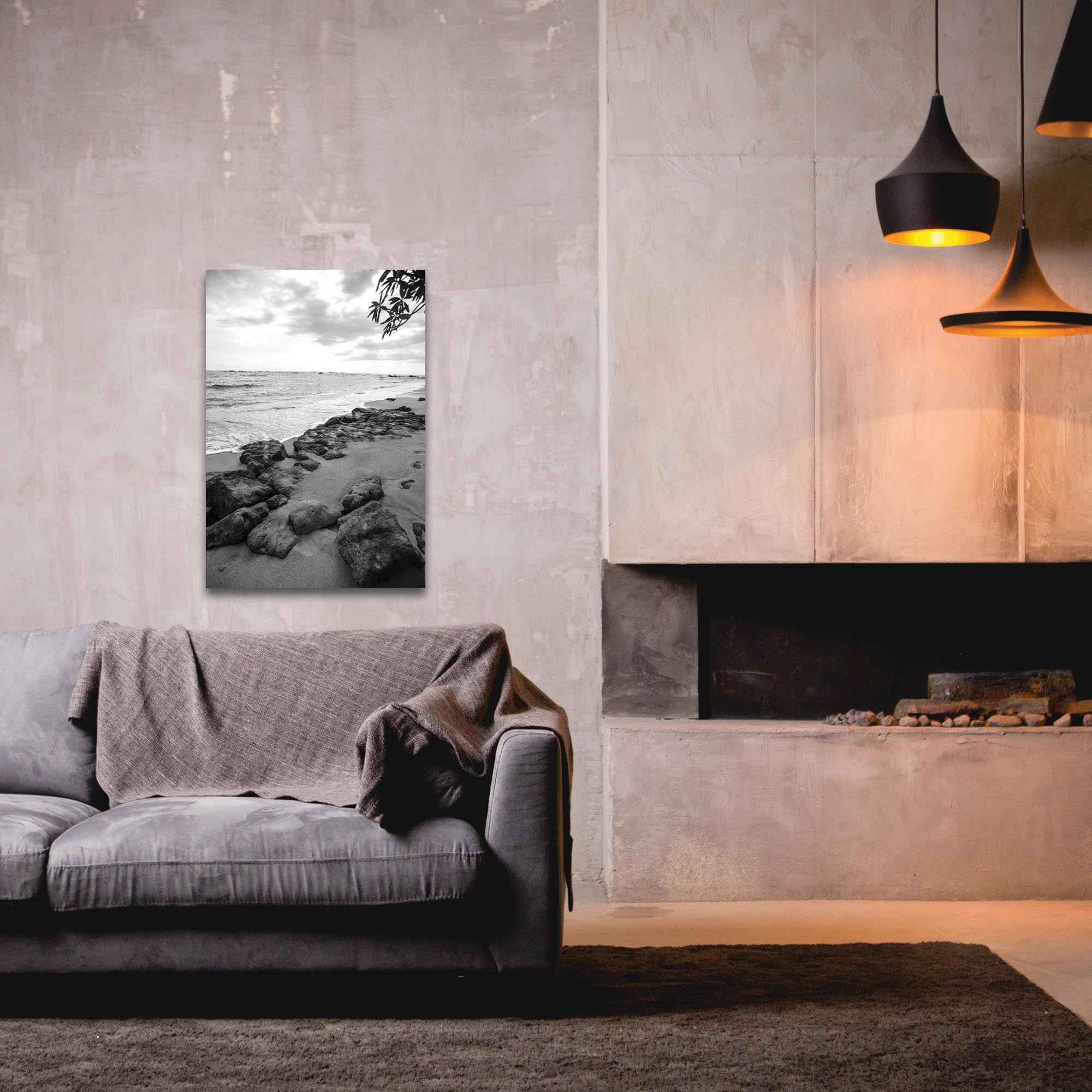 Black & White Photography 'The Coastline' - Coastal Art on Metal or Plexiglass - Lifestyle View