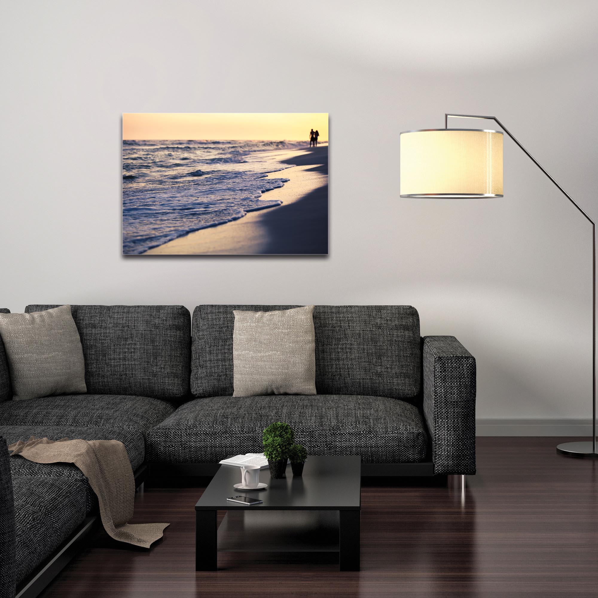 Coastal Wall Art 'Beach Stroll' - Beach Sunset Decor on Metal or Plexiglass - Image 3