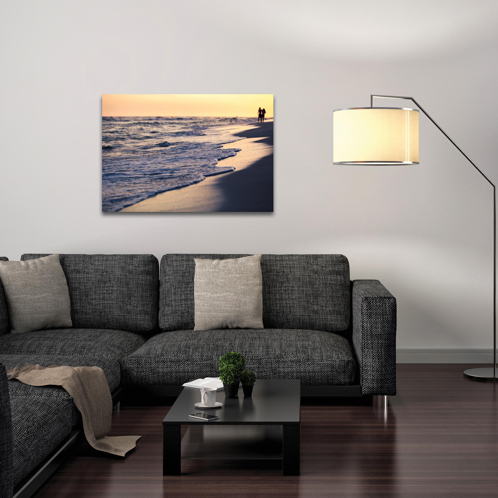 Coastal Wall Art 'Beach Stroll' - Beach Sunset Decor on Metal or Plexiglass - Lifestyle View