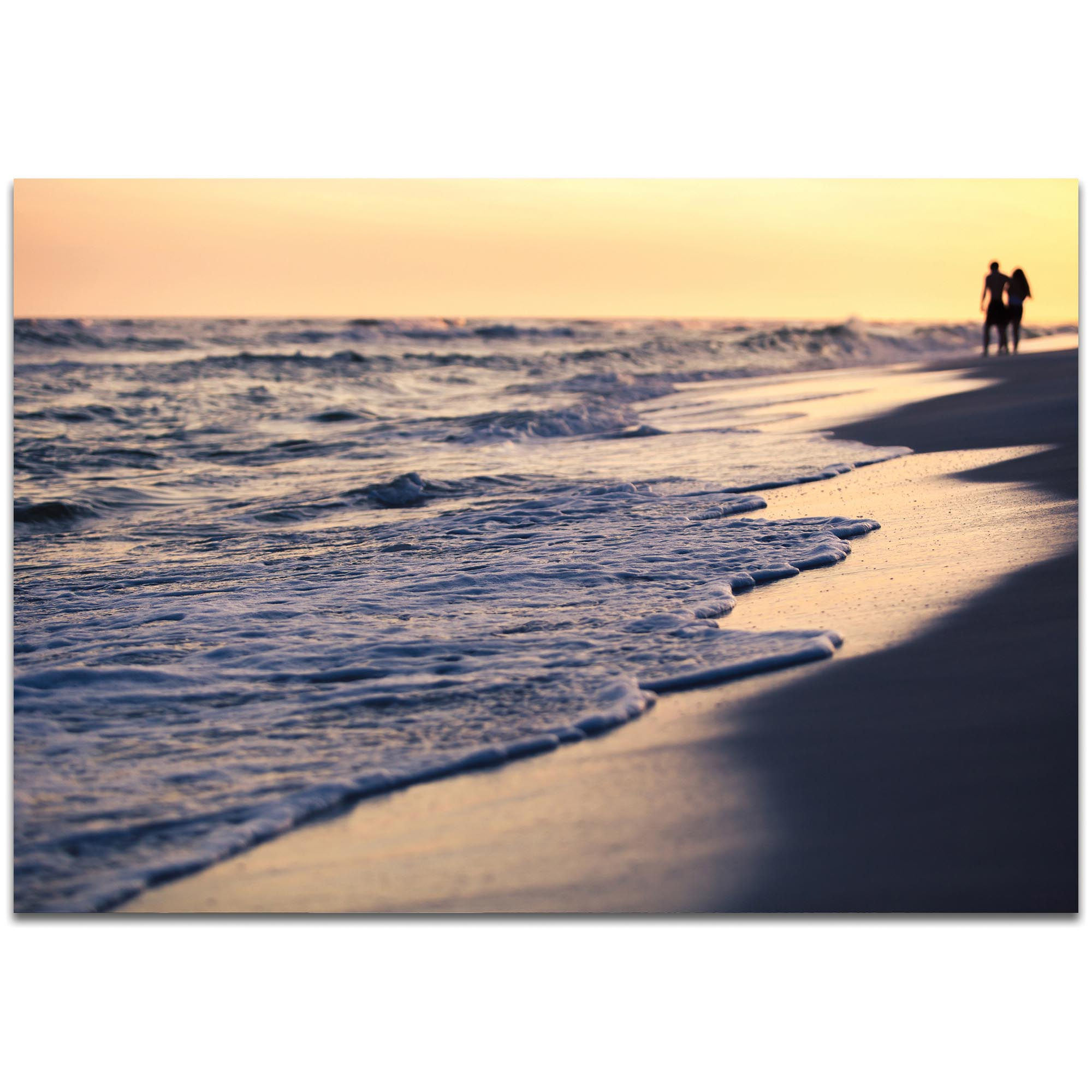 Coastal Wall Art 'Beach Stroll' - Beach Sunset Decor on Metal or Plexiglass