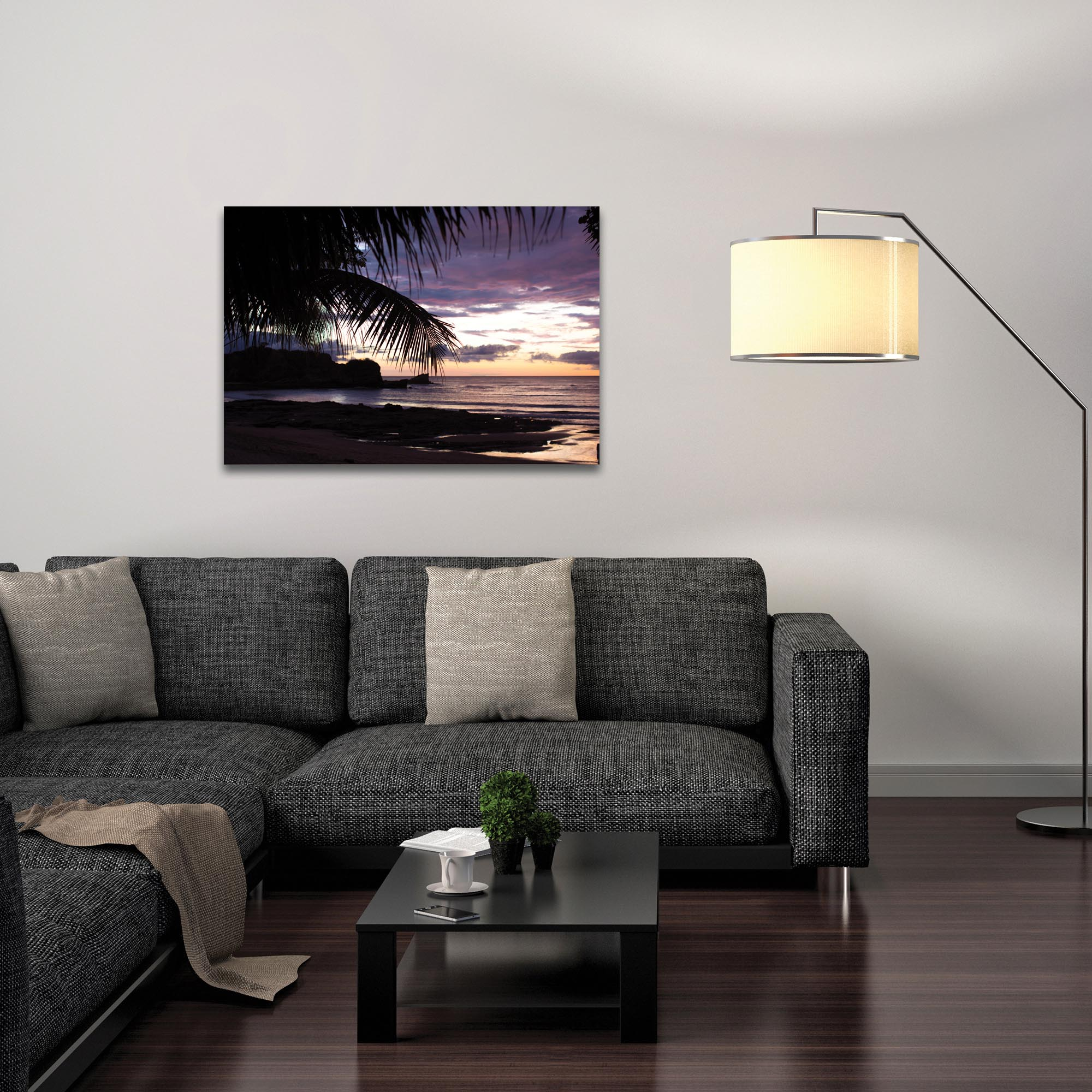 Coastal Wall Art 'Sunset Palms' - Beach Sunset Decor on Metal or Plexiglass - Lifestyle View