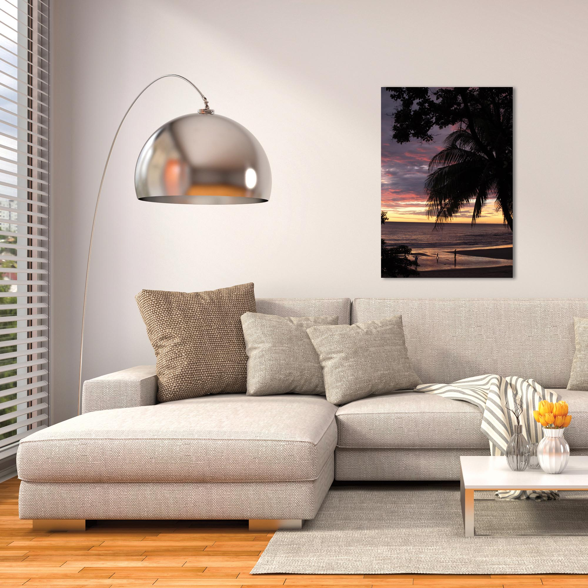 Coastal Wall Art 'Coastal Sunset Skies' - Beach Sunset Decor on Metal or Plexiglass - Lifestyle View