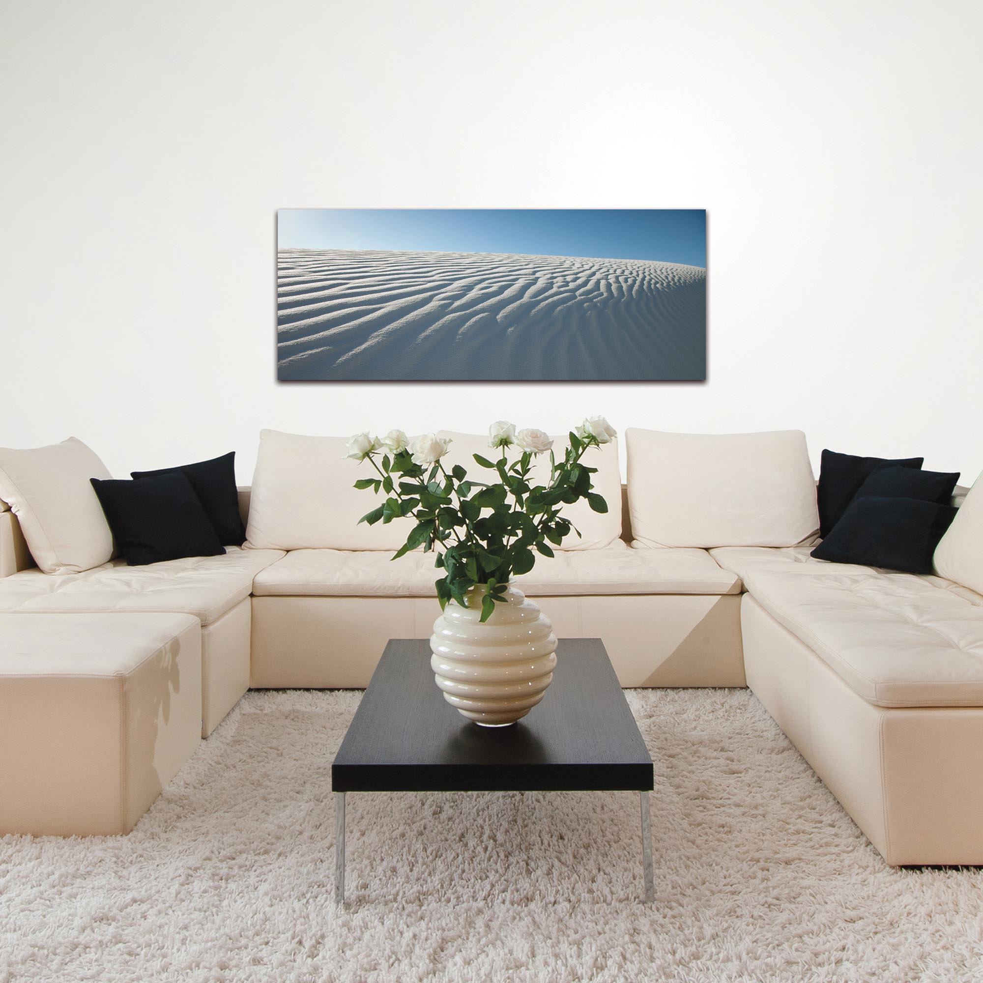 Landscape Photography 'Rippled Sand' - Sand Dunes Art on Metal or Plexiglass - Lifestyle View