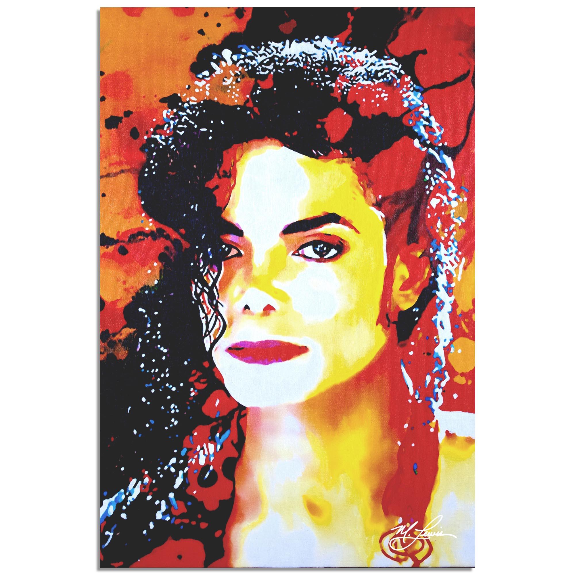 Mark Lewis 'Michael Jackson Perfection Veteran' 22in x 32in Celebrity Pop Art on Metal or Plexiglass