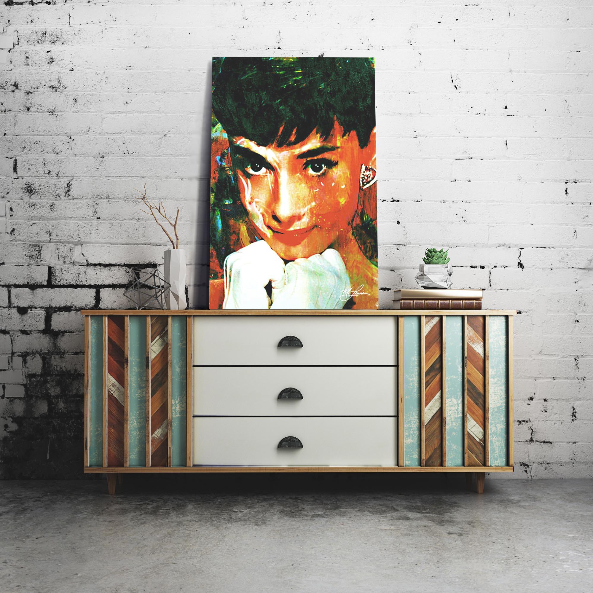 Audrey Hepburn Tiffany Delight 22x32 Metal or Plexiglass Pop Art Portrait - Lifestyle View