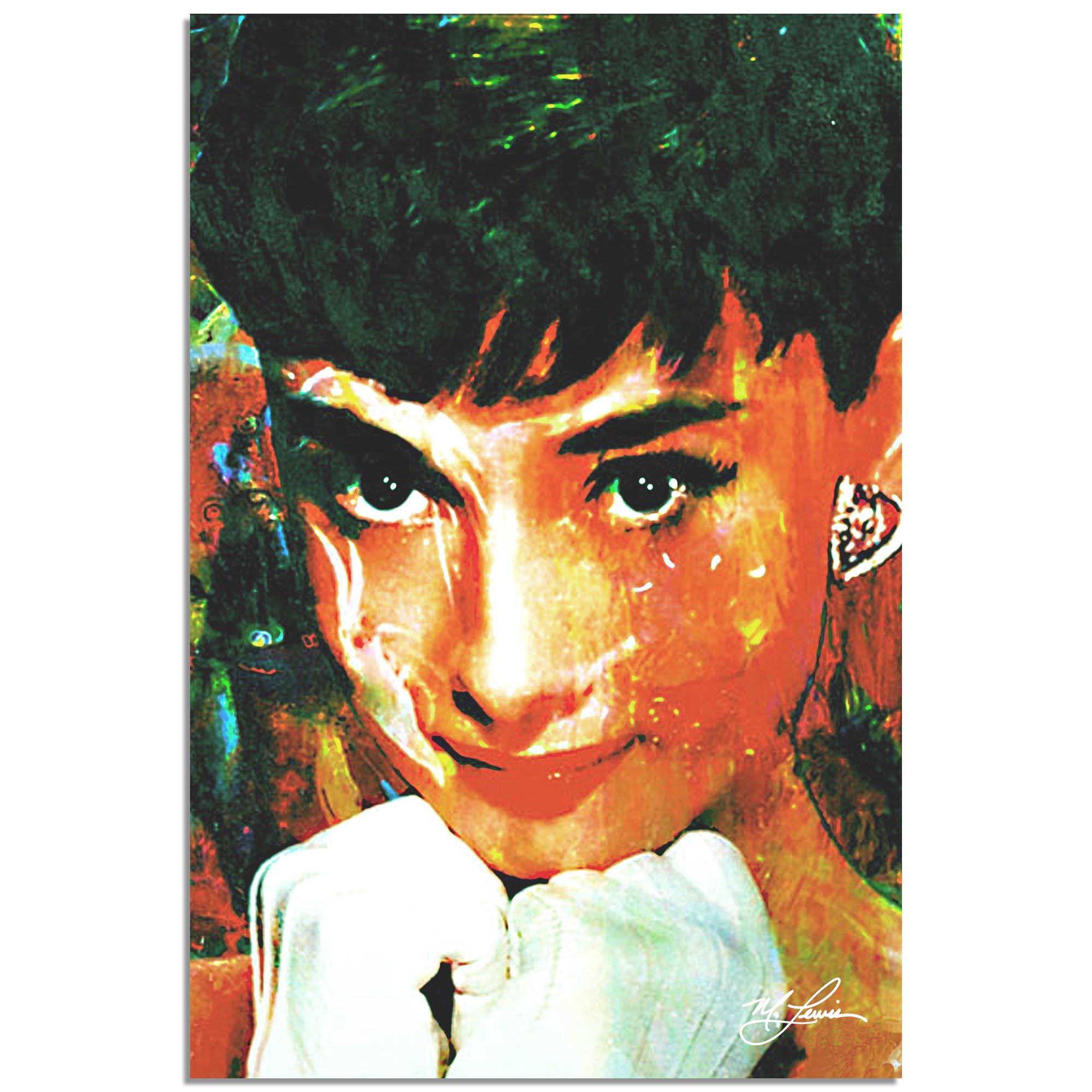 Mark Lewis 'Audrey Hepburn Tiffany Delight' 22in x 32in Celebrity Pop Art on Metal or Plexiglass