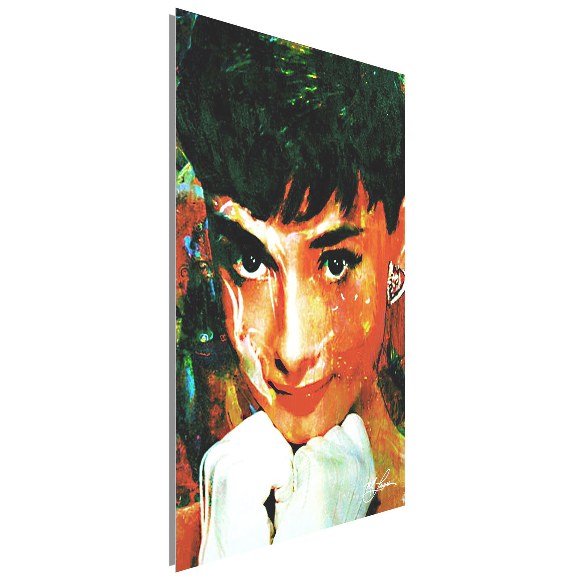 Audrey Hepburn Tiffany Delight by Mark Lewis - Celebrity Pop Art on Metal or Plexiglass - ML0003