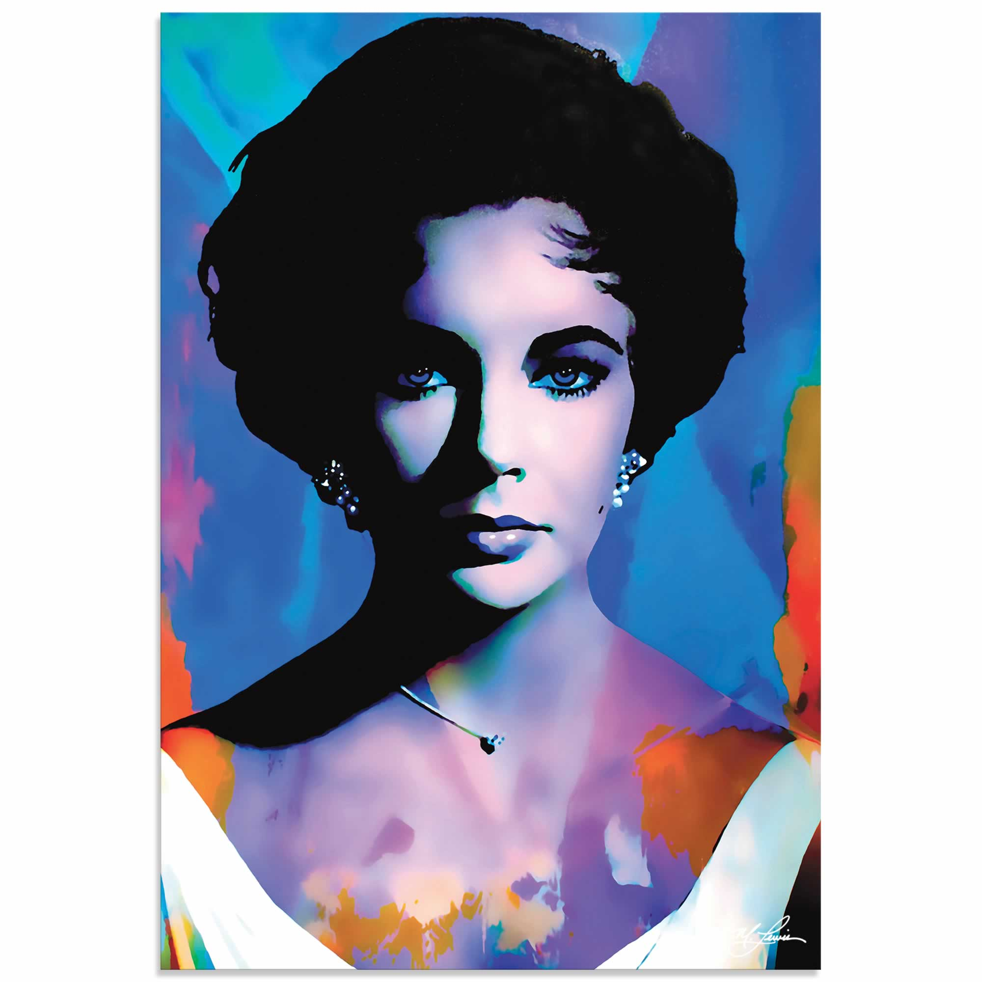Elizabeth Taylor The Color of Passion | Pop Art Painting by Mark Lewis, Signed & Numbered Limited Edition