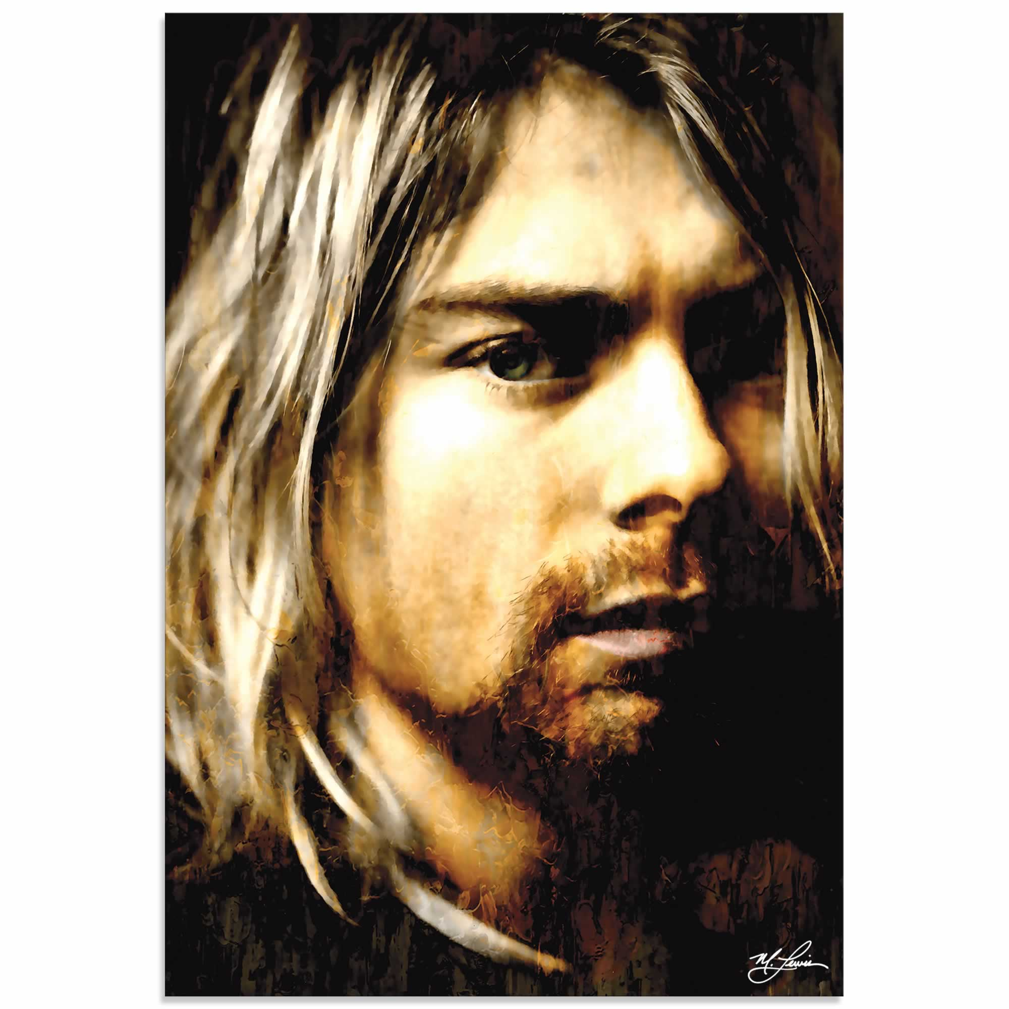Kurt Cobain As Darkness Fell | Pop Art Painting by Mark Lewis, Signed & Numbered Limited Edition