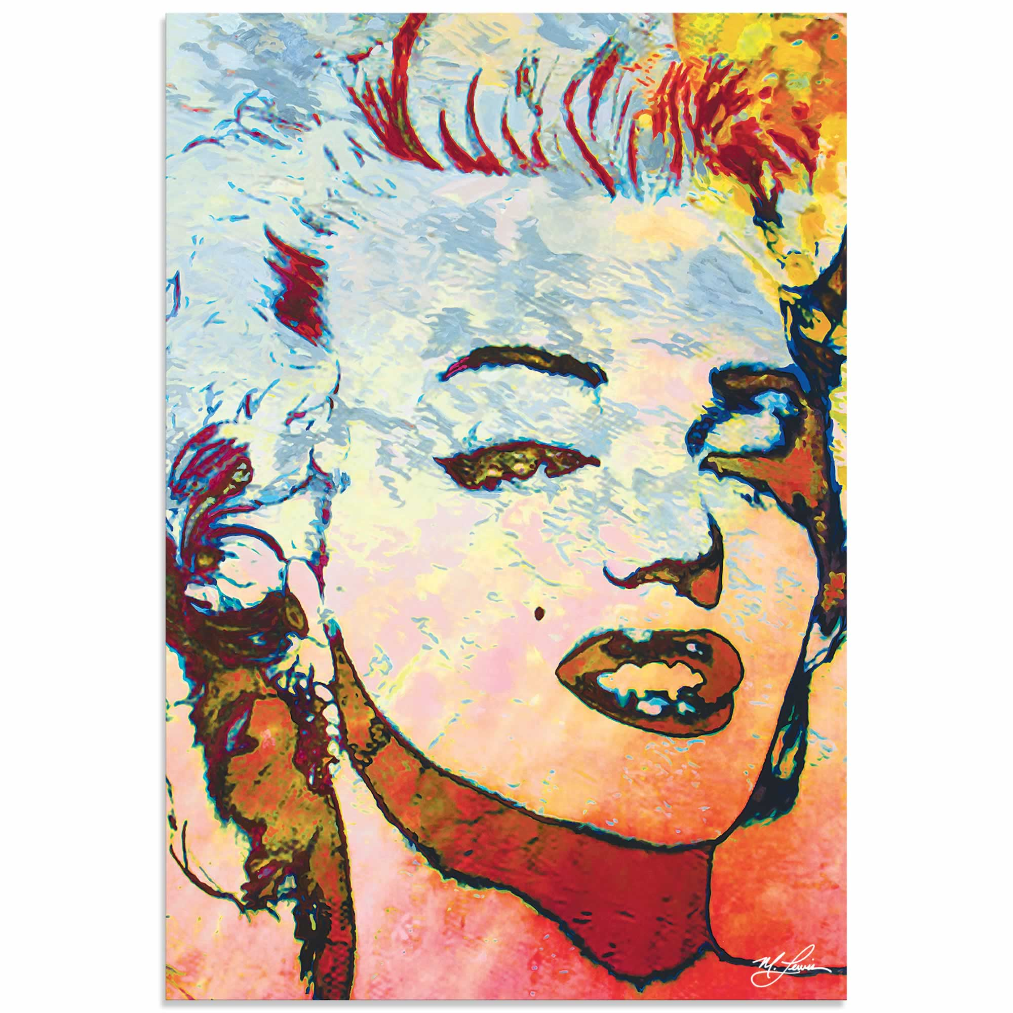 Marilyn Monroe Red | Pop Art Painting by Mark Lewis, Signed & Numbered Limited Edition - ML0024