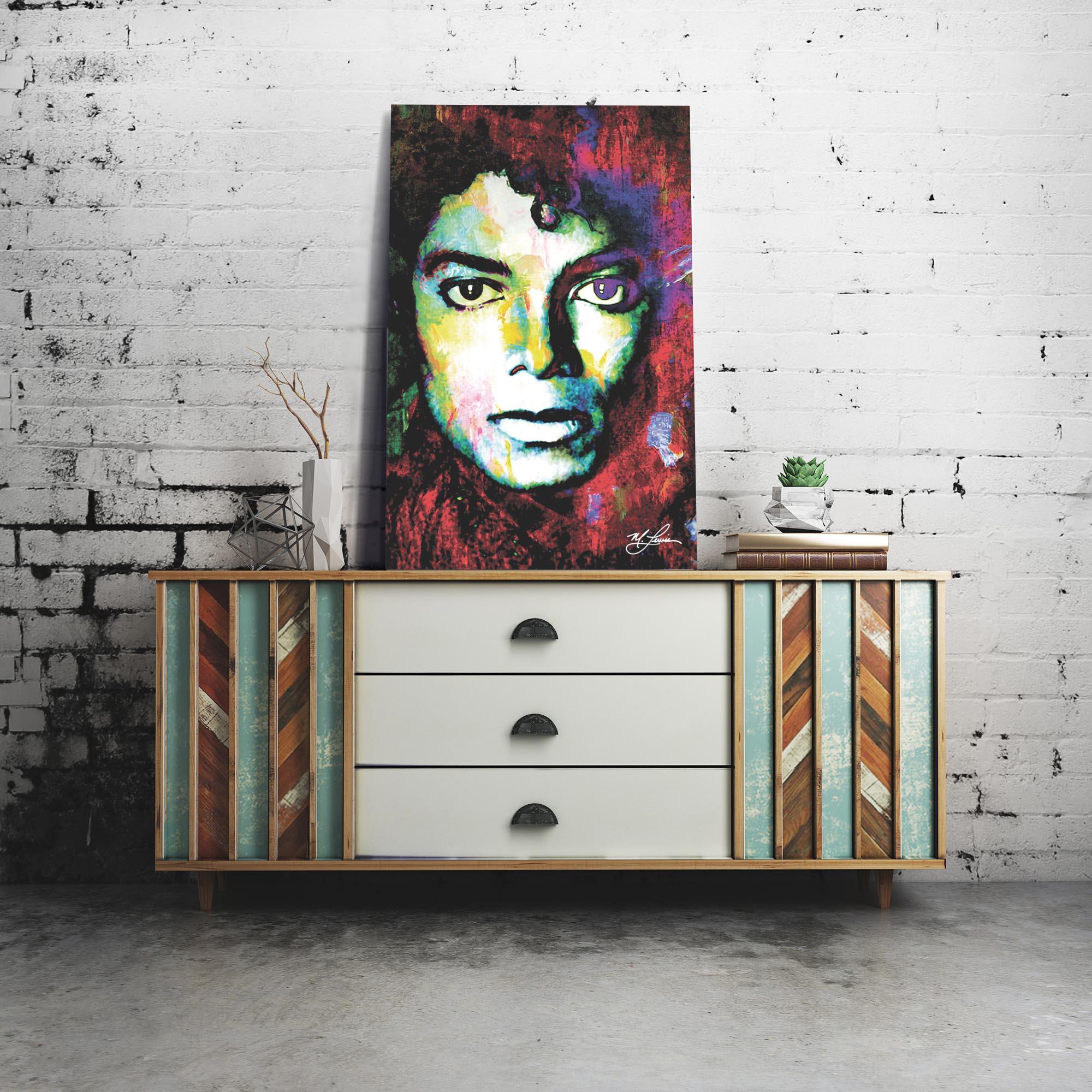 Michael Jackson Study 1 22x32 Metal or Plexiglass Pop Art Portrait - Lifestyle View