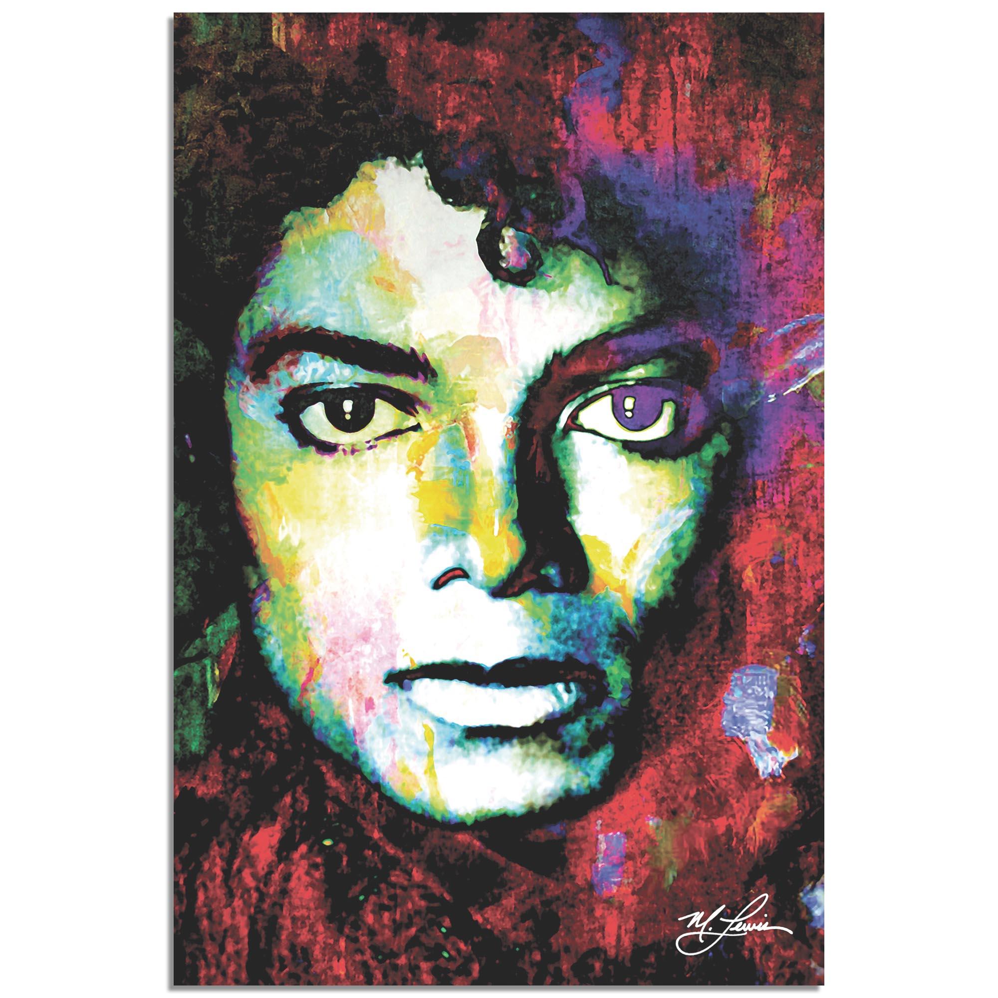 Mark Lewis 'Michael Jackson Study 1' 22in x 32in Celebrity Pop Art on Metal or Plexiglass
