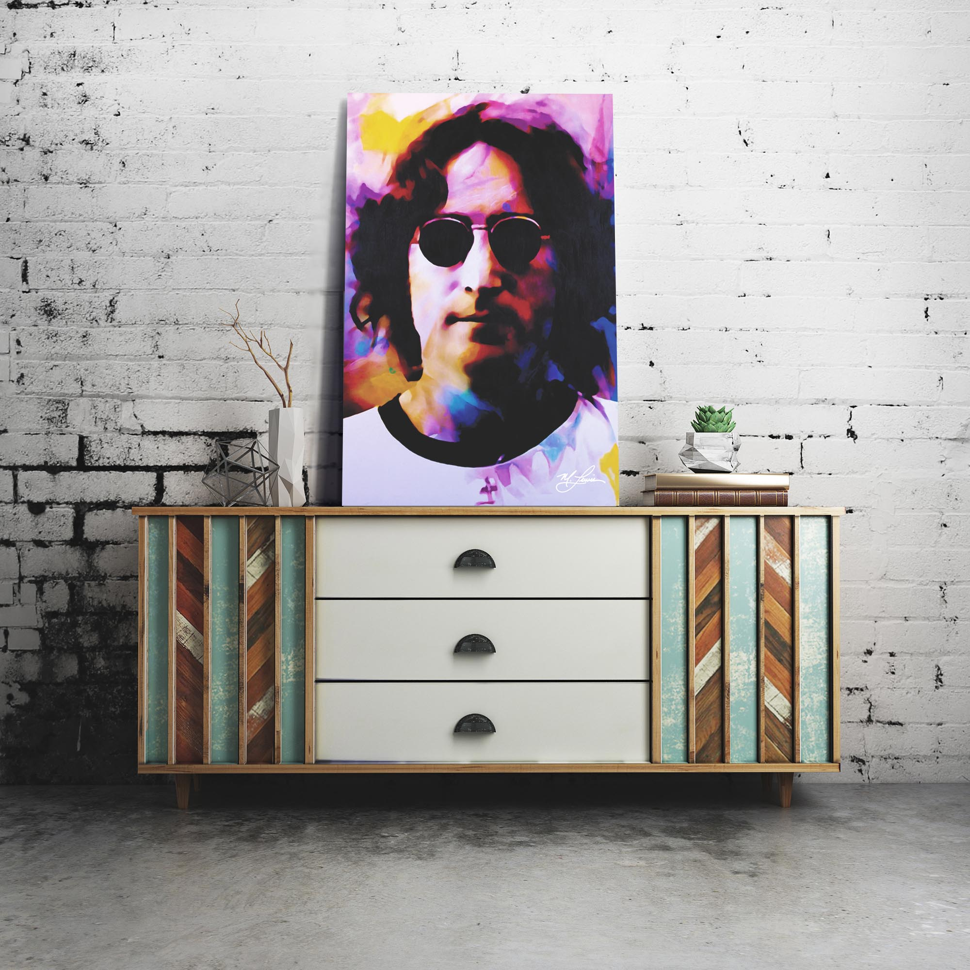 John Lennon Dance of Emotion 22x32 Metal or Plexiglass Pop Art Portrait - Lifestyle View