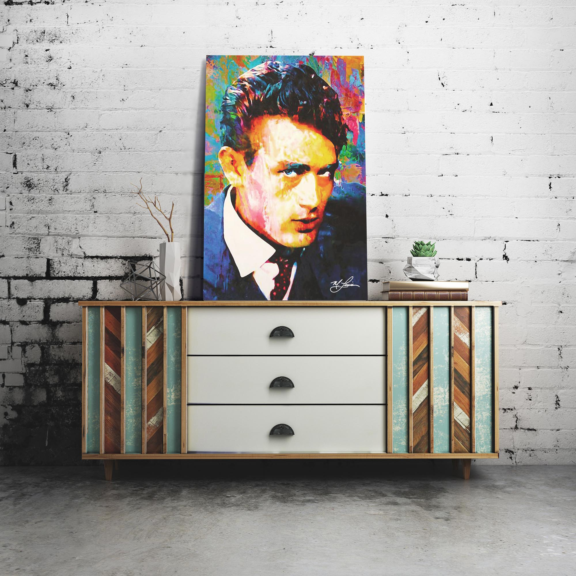 James Dean Lifes Significance 22x32 Metal or Plexiglass Pop Art Portrait - Lifestyle View