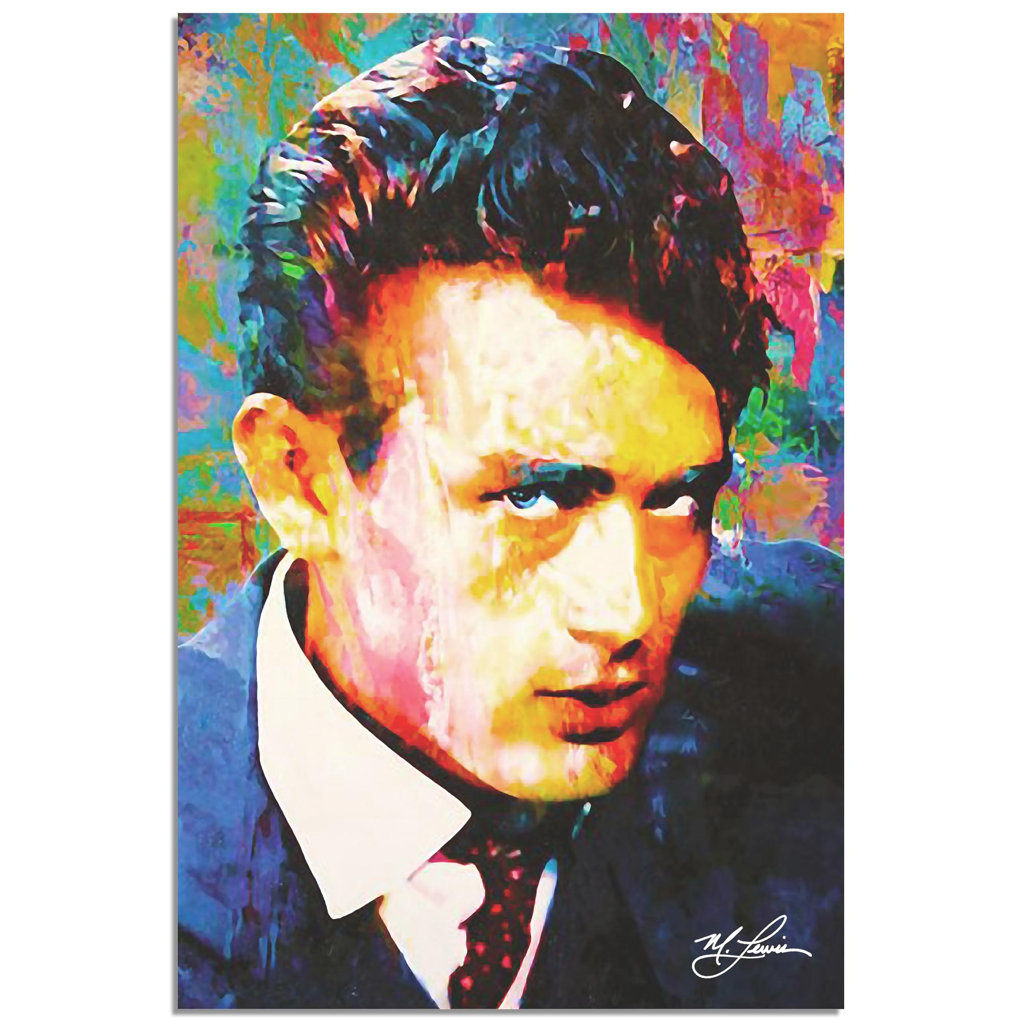 Mark Lewis 'James Dean Lifes Significance' 22in x 32in Celebrity Pop Art on Metal or Plexiglass
