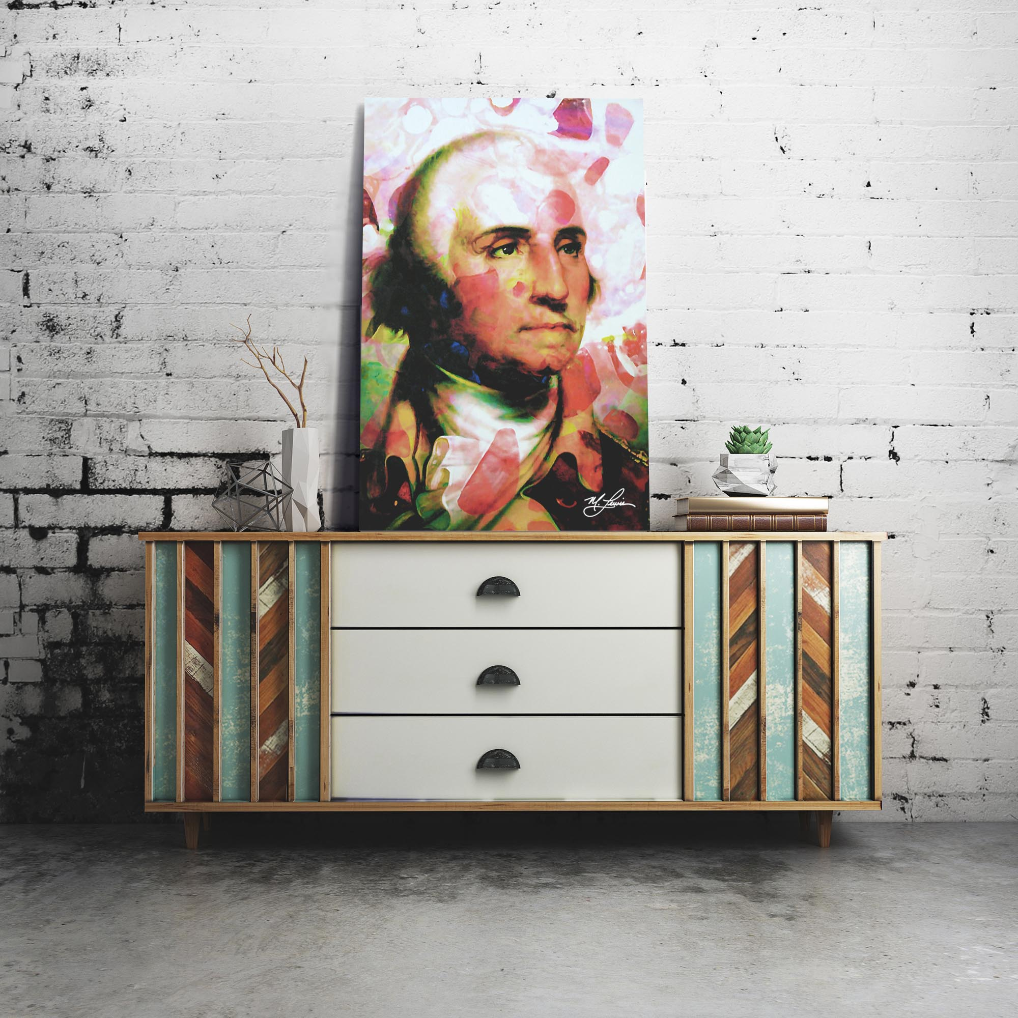 George Washington Disciplined Soul by Mark Lewis - Celebrity Pop Art on Metal or Plexiglass - ML0040