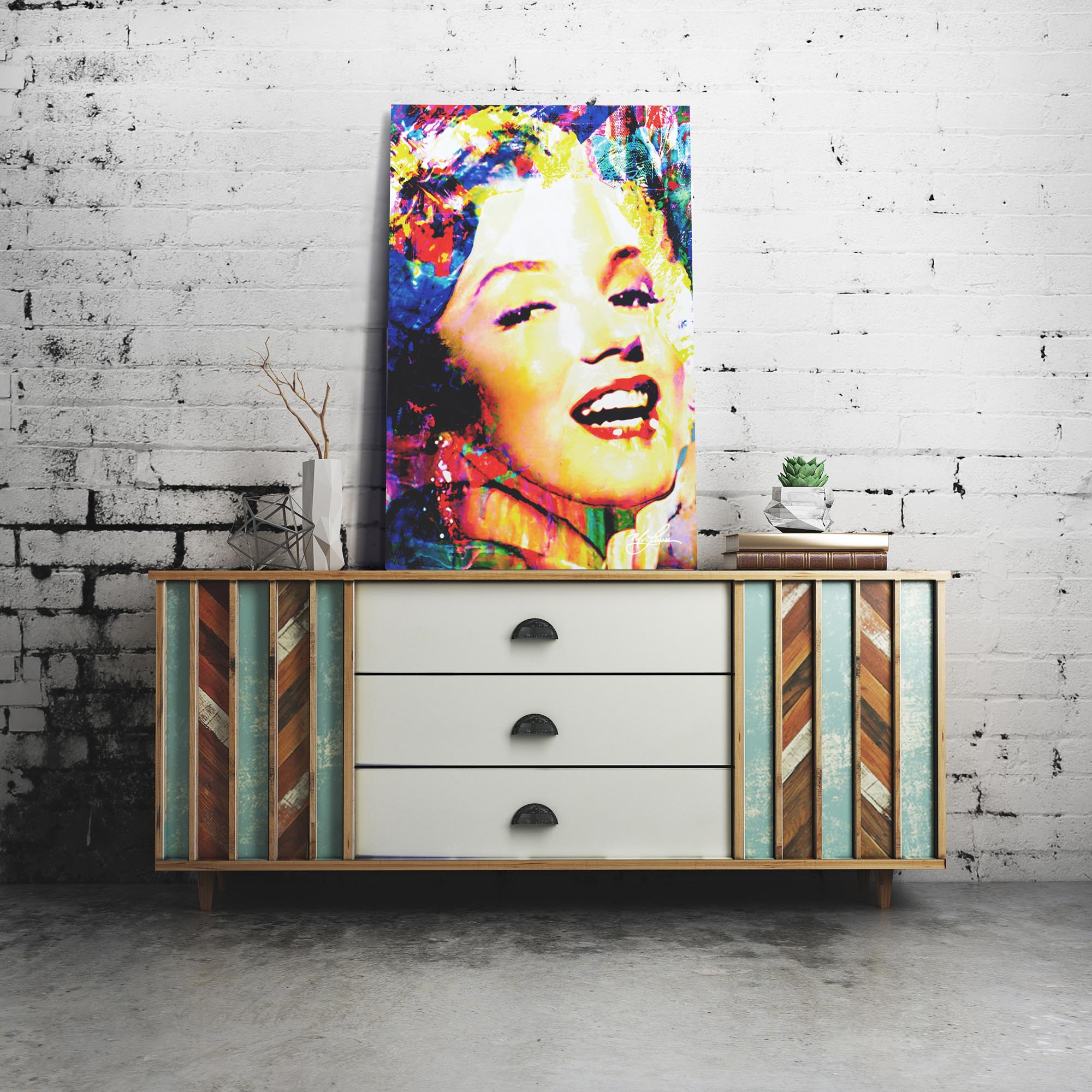 Marilyn Monroe Marilyn Bee 22x32 Metal or Plexiglass Pop Art Portrait - Lifestyle View