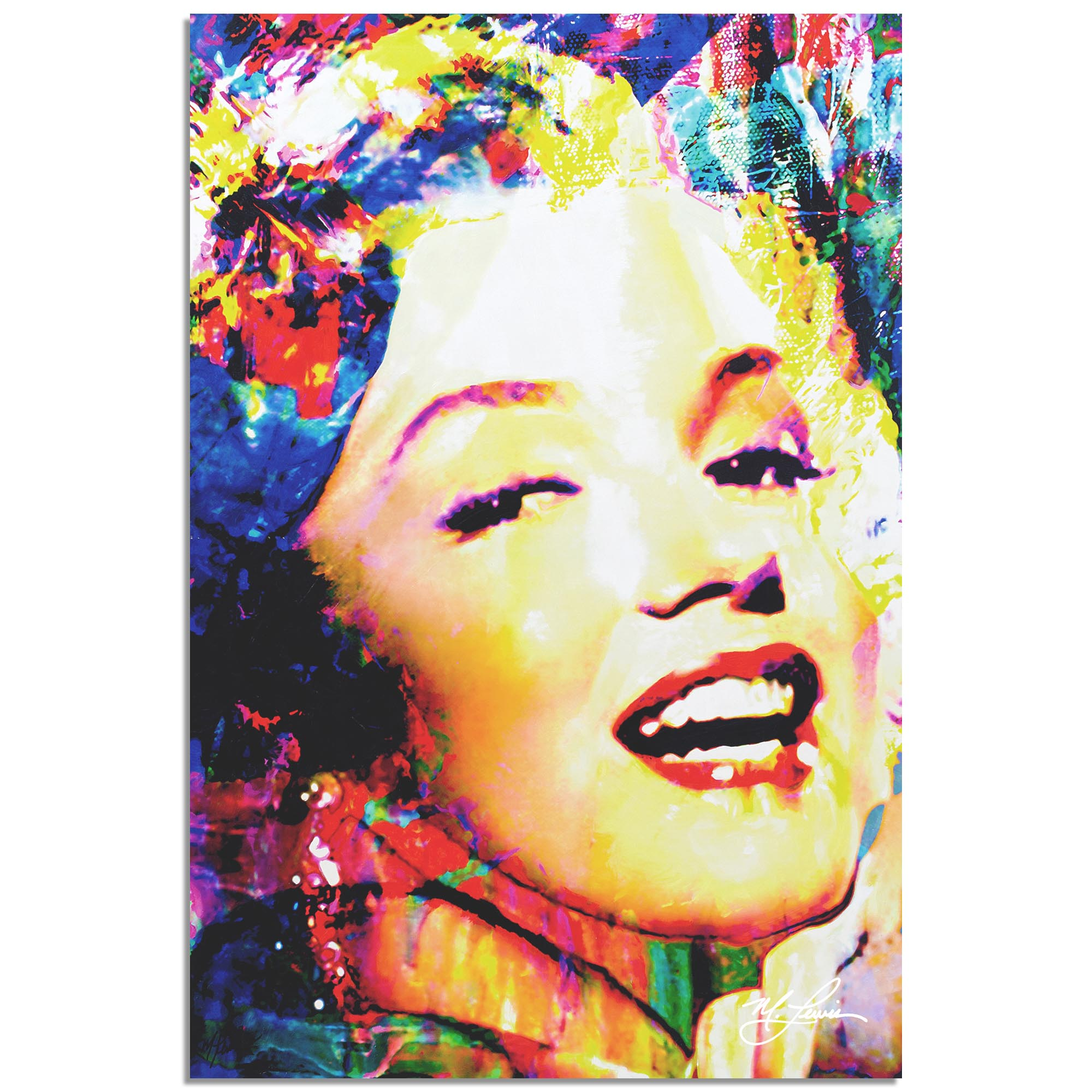 Mark Lewis 'Marilyn Monroe Marilyn Bee' 22in x 32in Celebrity Pop Art on Metal or Plexiglass