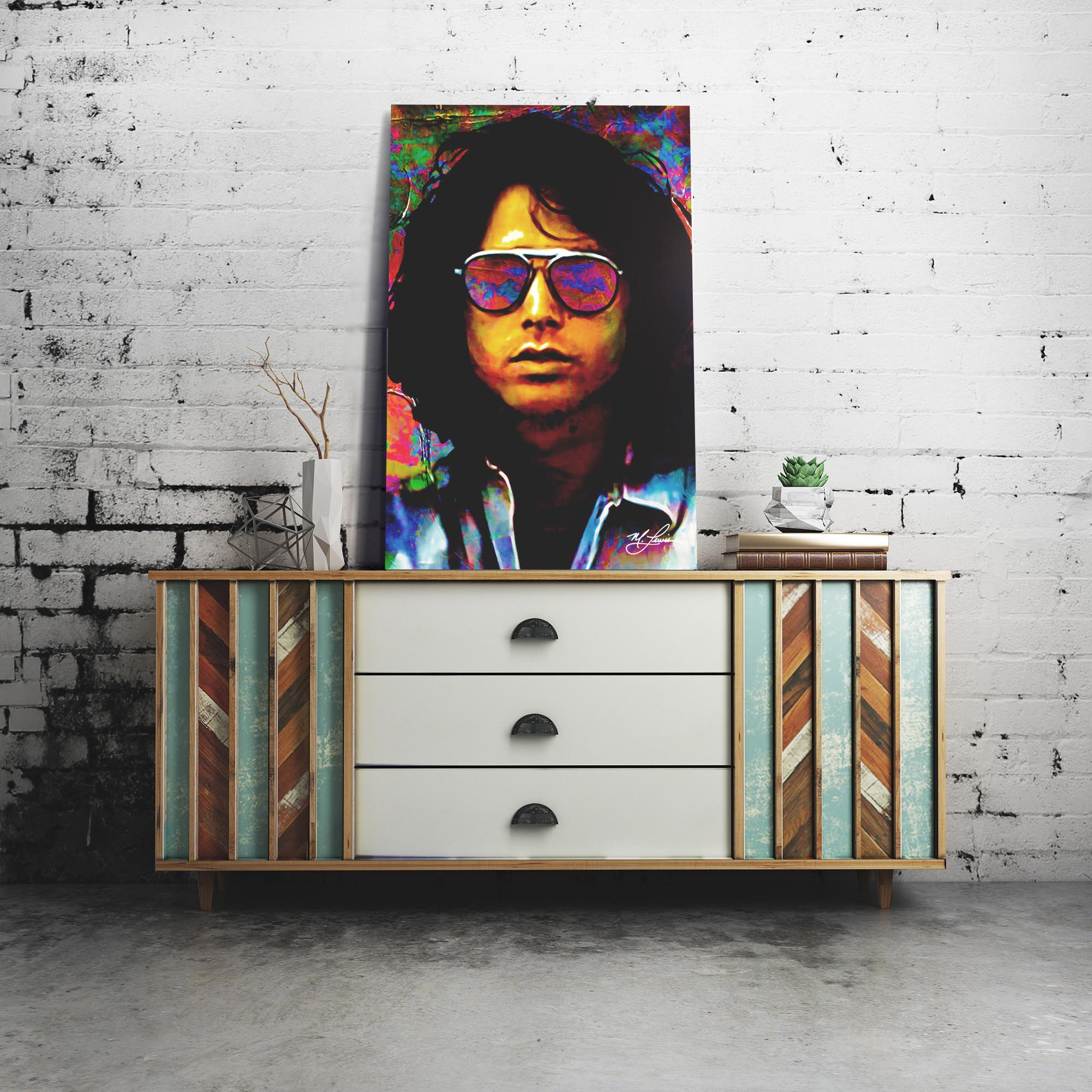 Jim Morrison Insightful Chaos 22x32 Metal or Plexiglass Pop Art Portrait - Lifestyle View
