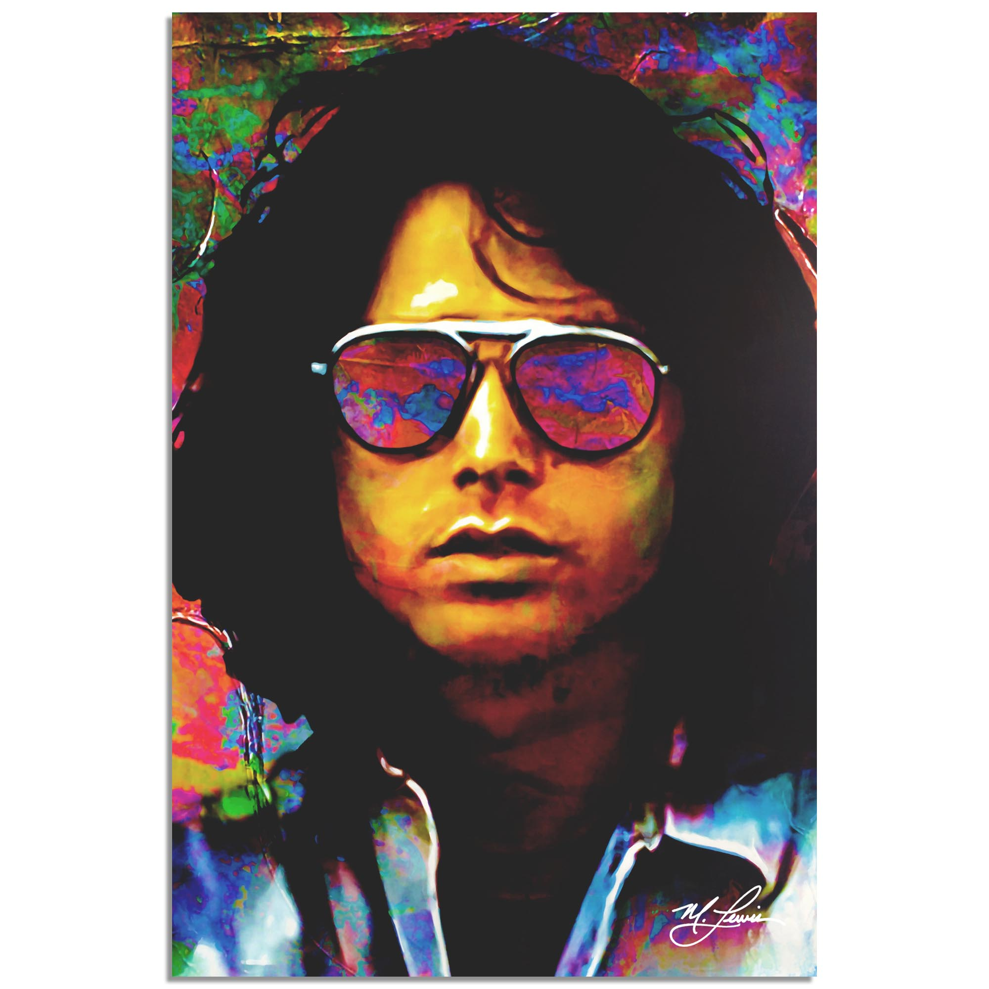 Mark Lewis 'Jim Morrison Insightful Chaos' 22in x 32in Celebrity Pop Art on Metal or Plexiglass