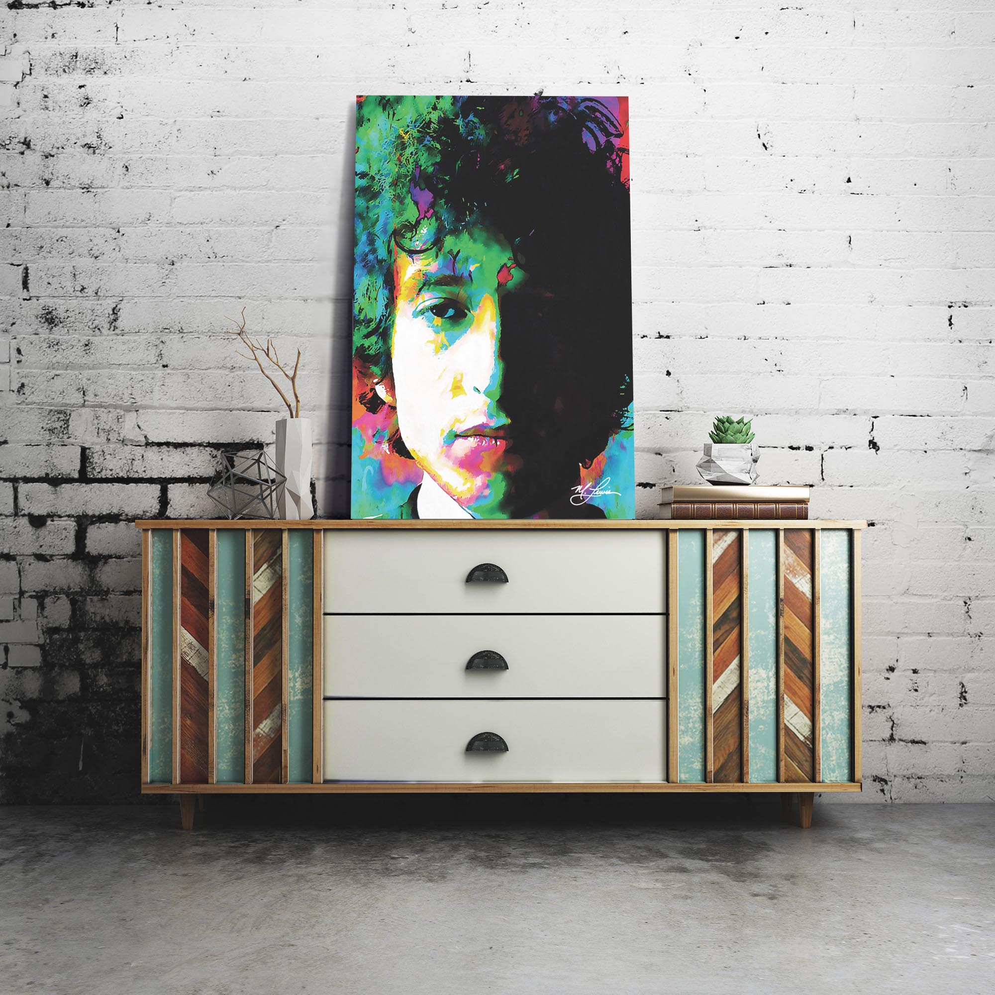 Bob Dylan Natural Memory 22x32 Metal or Plexiglass Pop Art Portrait - Lifestyle View