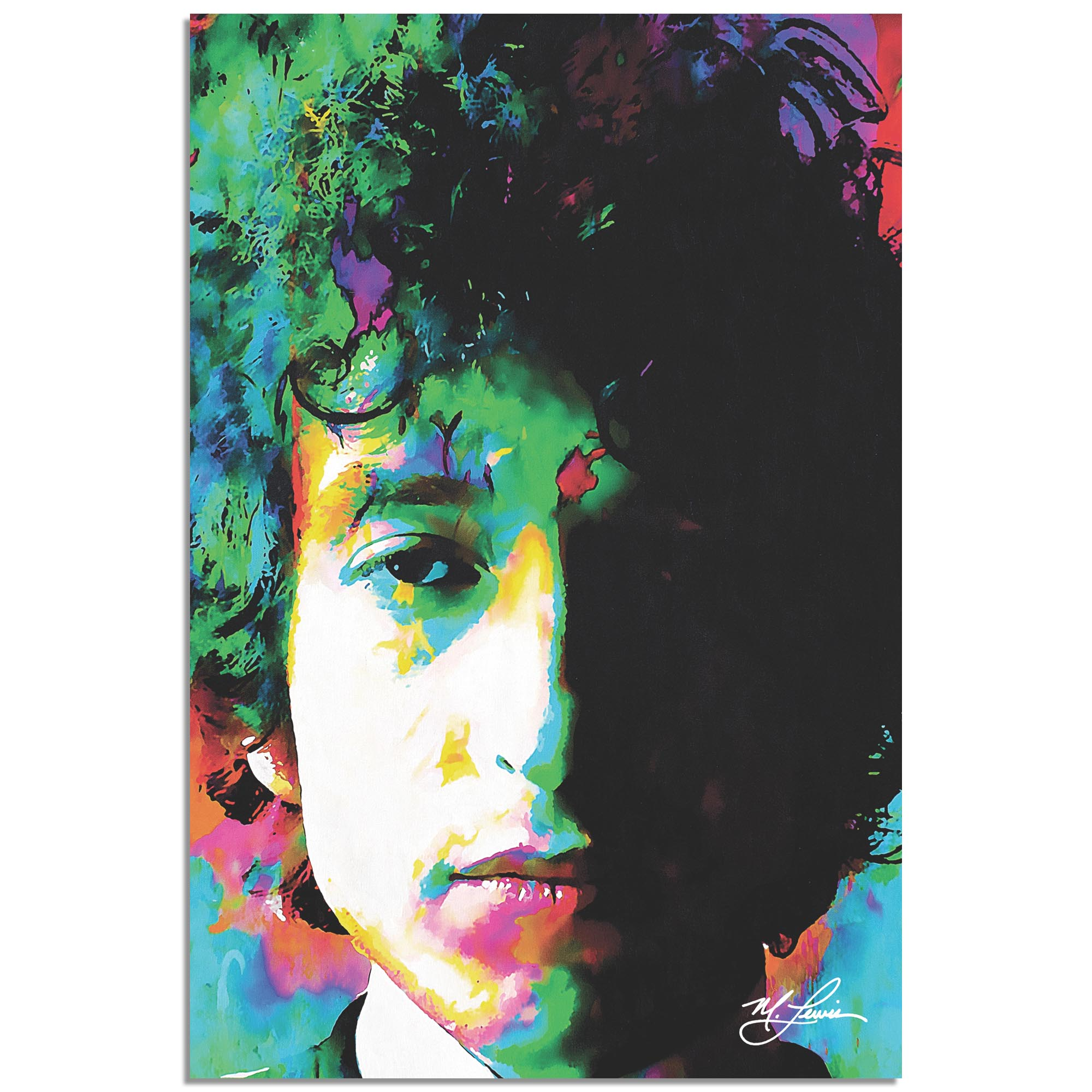 Mark Lewis 'Bob Dylan Natural Memory' 22in x 32in Celebrity Pop Art on Metal or Plexiglass