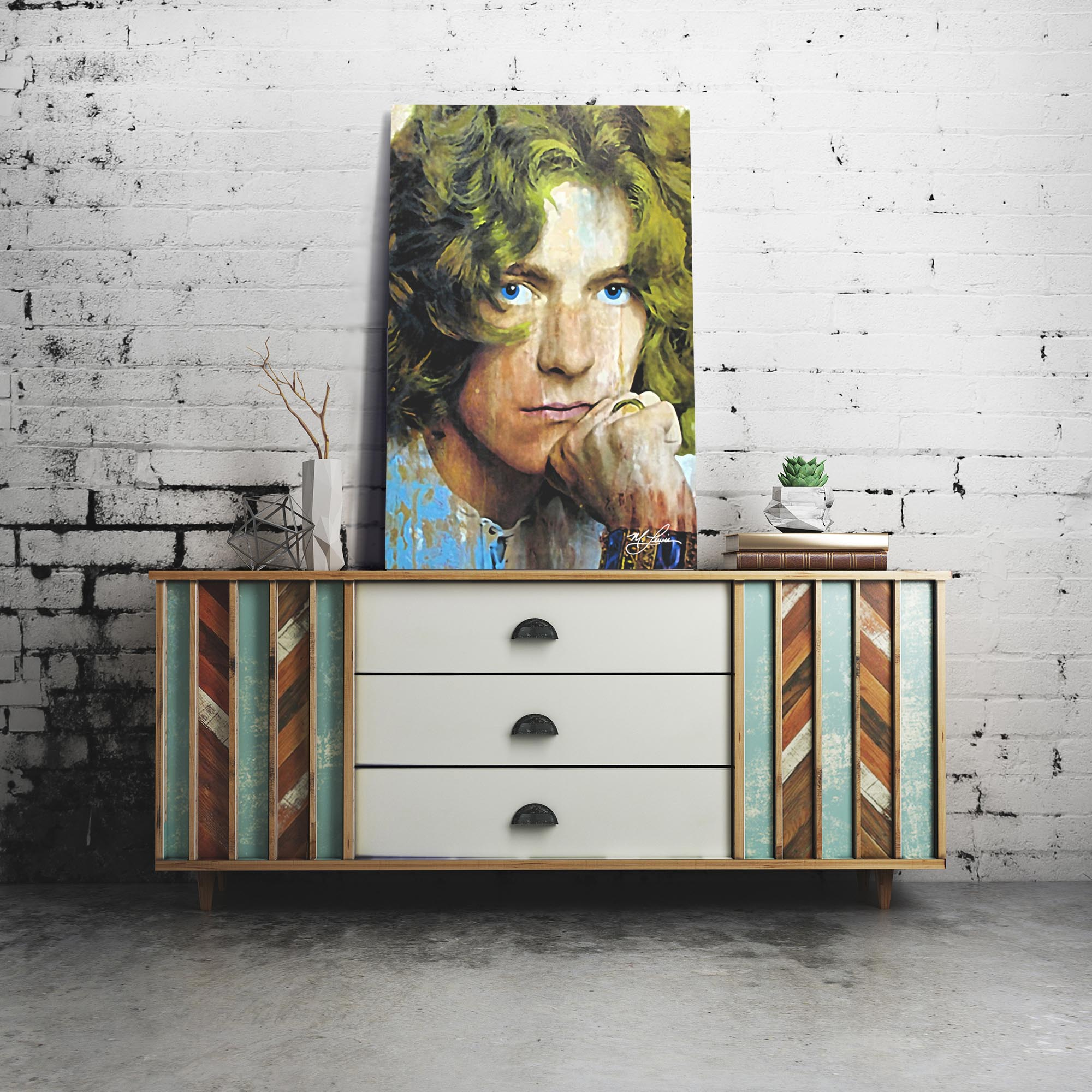 Robert Plant Shear Power 22x32 Metal or Plexiglass Pop Art Portrait - Lifestyle View