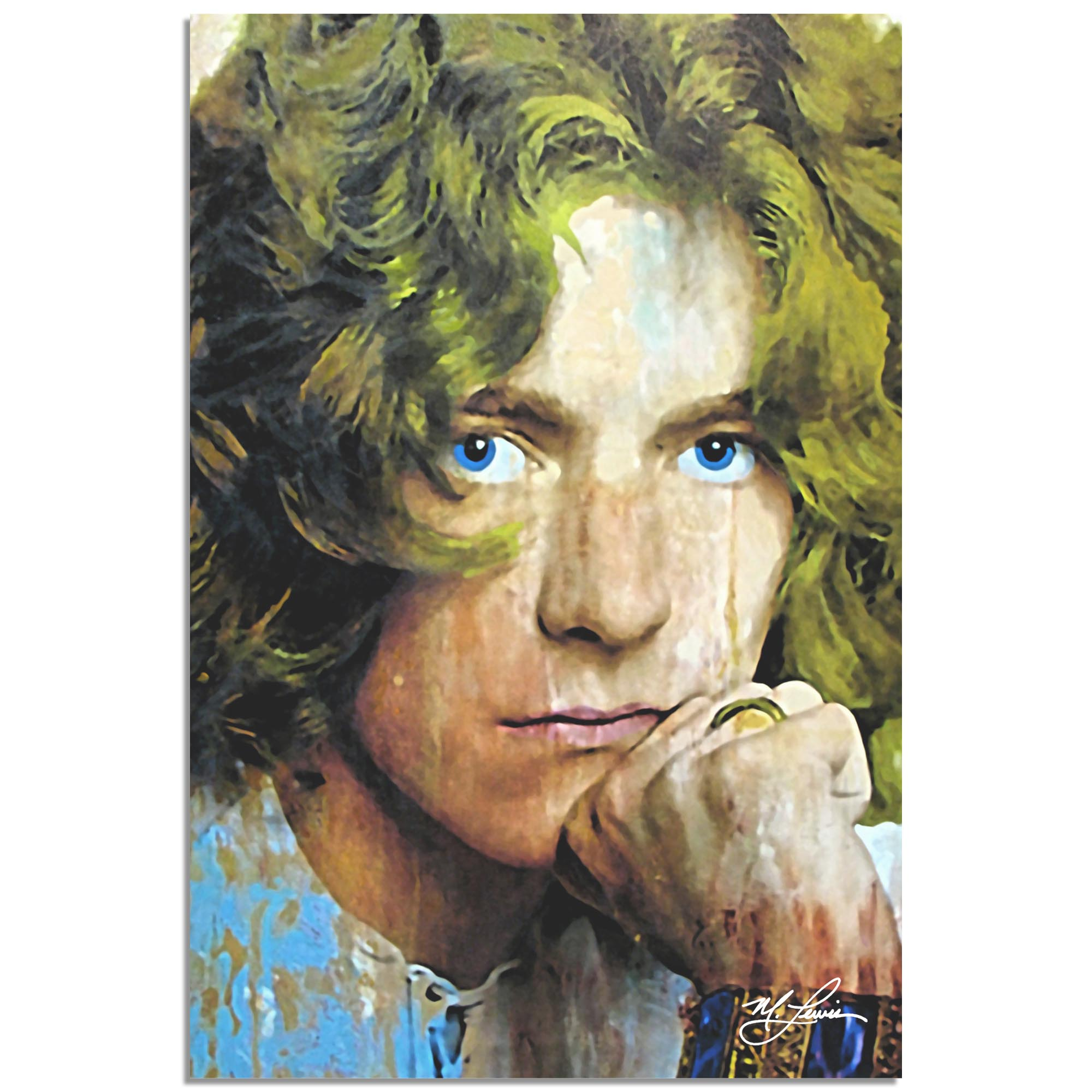 Mark Lewis 'Robert Plant Shear Power' 22in x 32in Celebrity Pop Art on Metal or Plexiglass